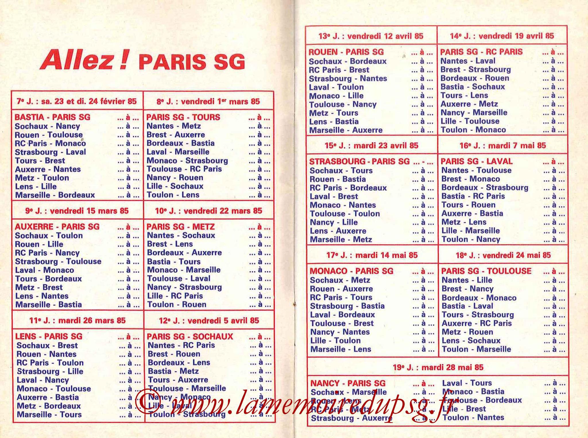 1984-85 - Guide de la Saison PSG - Pages 10 et 11