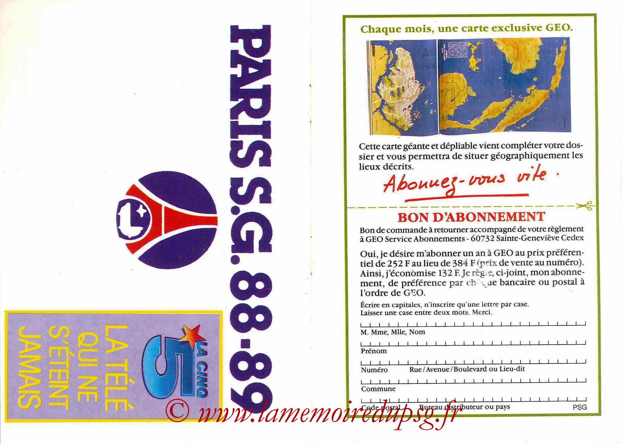 1988-89 - Passeport Abonné du PSG - Pages 20 et 21