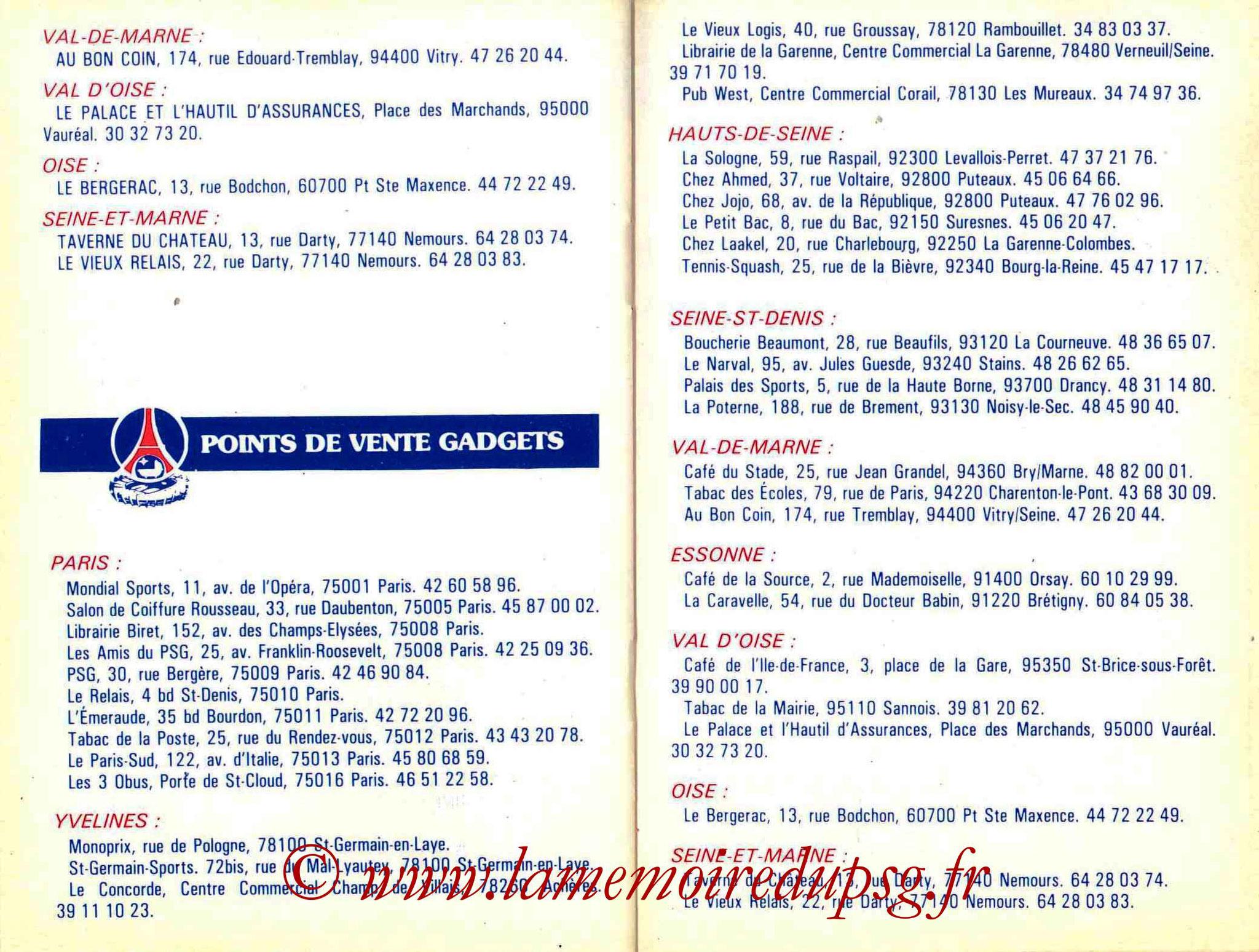 1986-87 - Guide de la Saison PSG - Pages 22 et 23