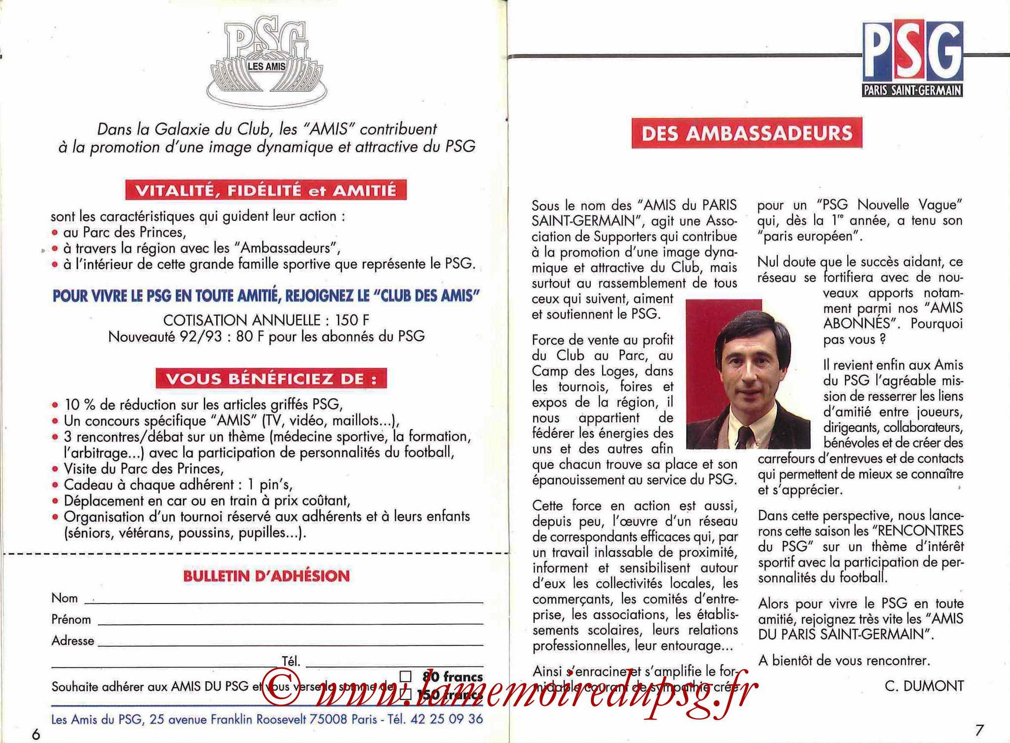 1992-93 - Guide de la Saison PSG - Pages 6 et 7