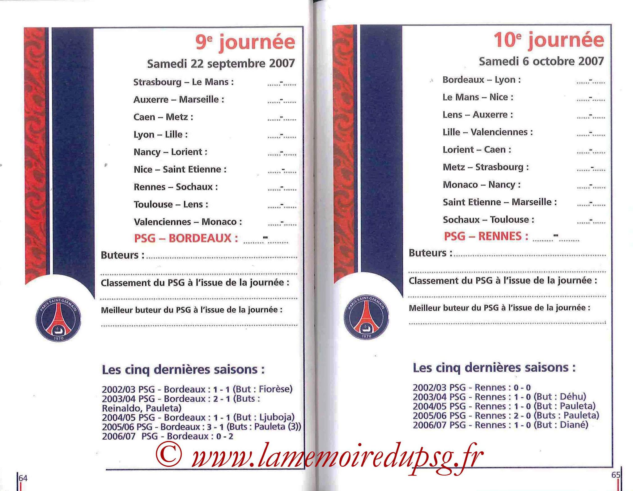 2007-08 - Guide de la Saison PSG - Pages 64 et 65