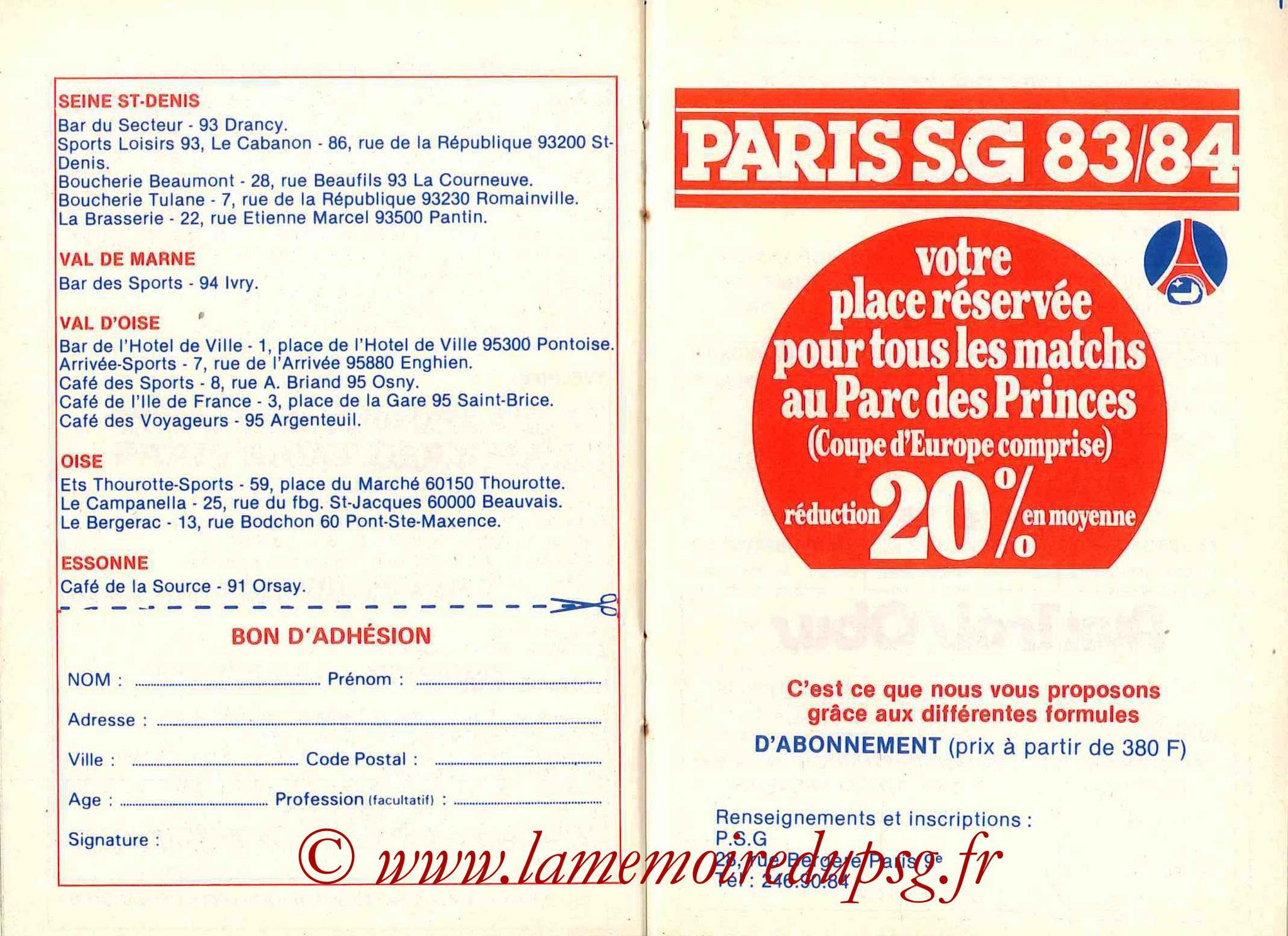 1983-84 - Guide de la Saison PSG - Pages 18 et 19
