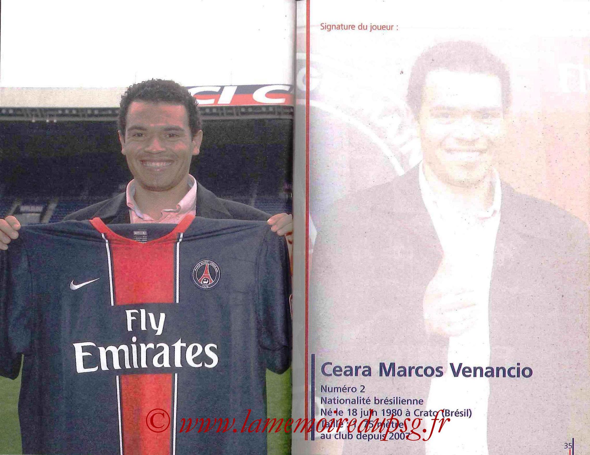2007-08 - Guide de la Saison PSG - Pages 34 et 35 - Marcos CEARA