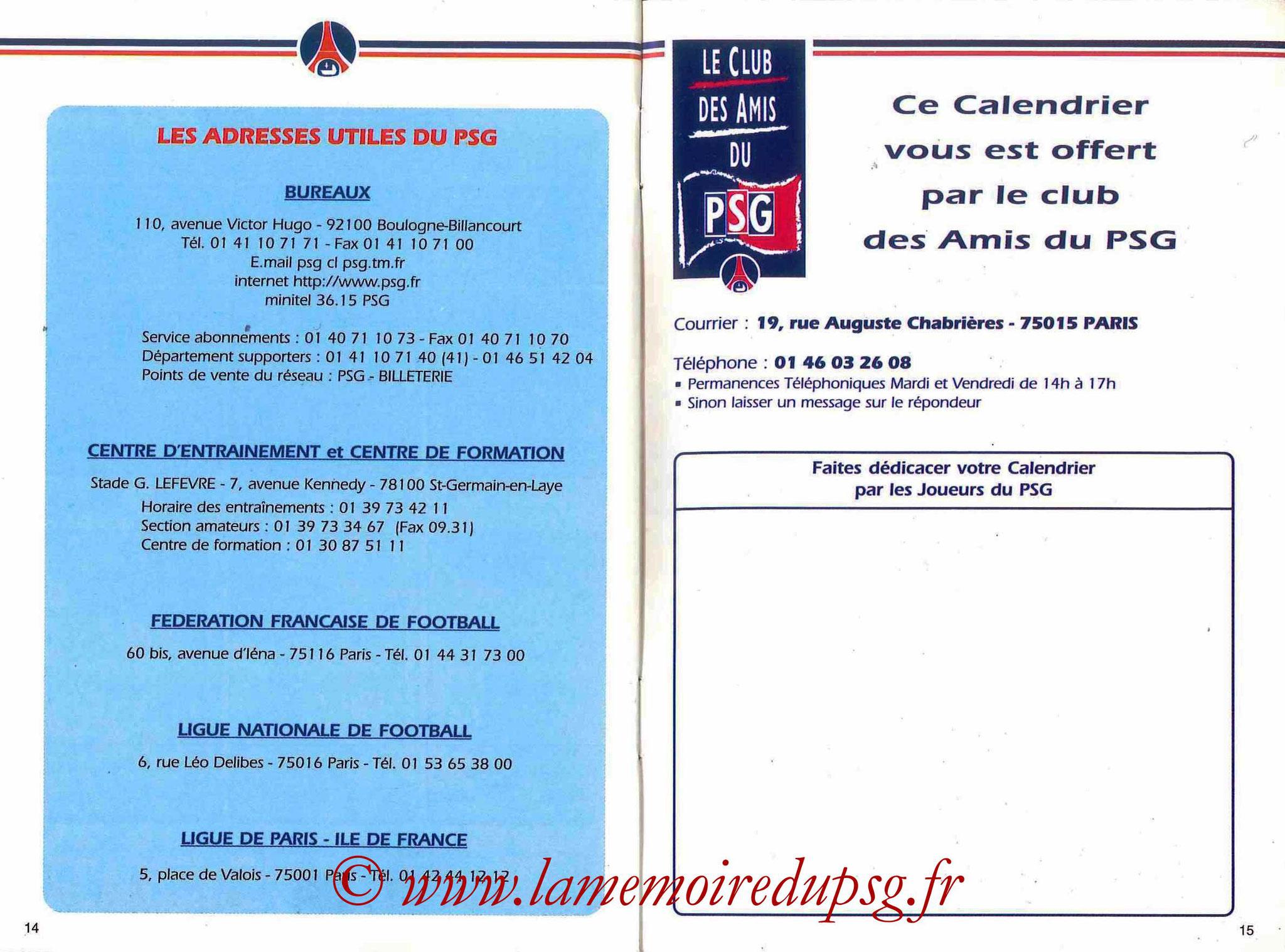 1999-00 - Guide de la Saison PSG - Pages 14 et 15