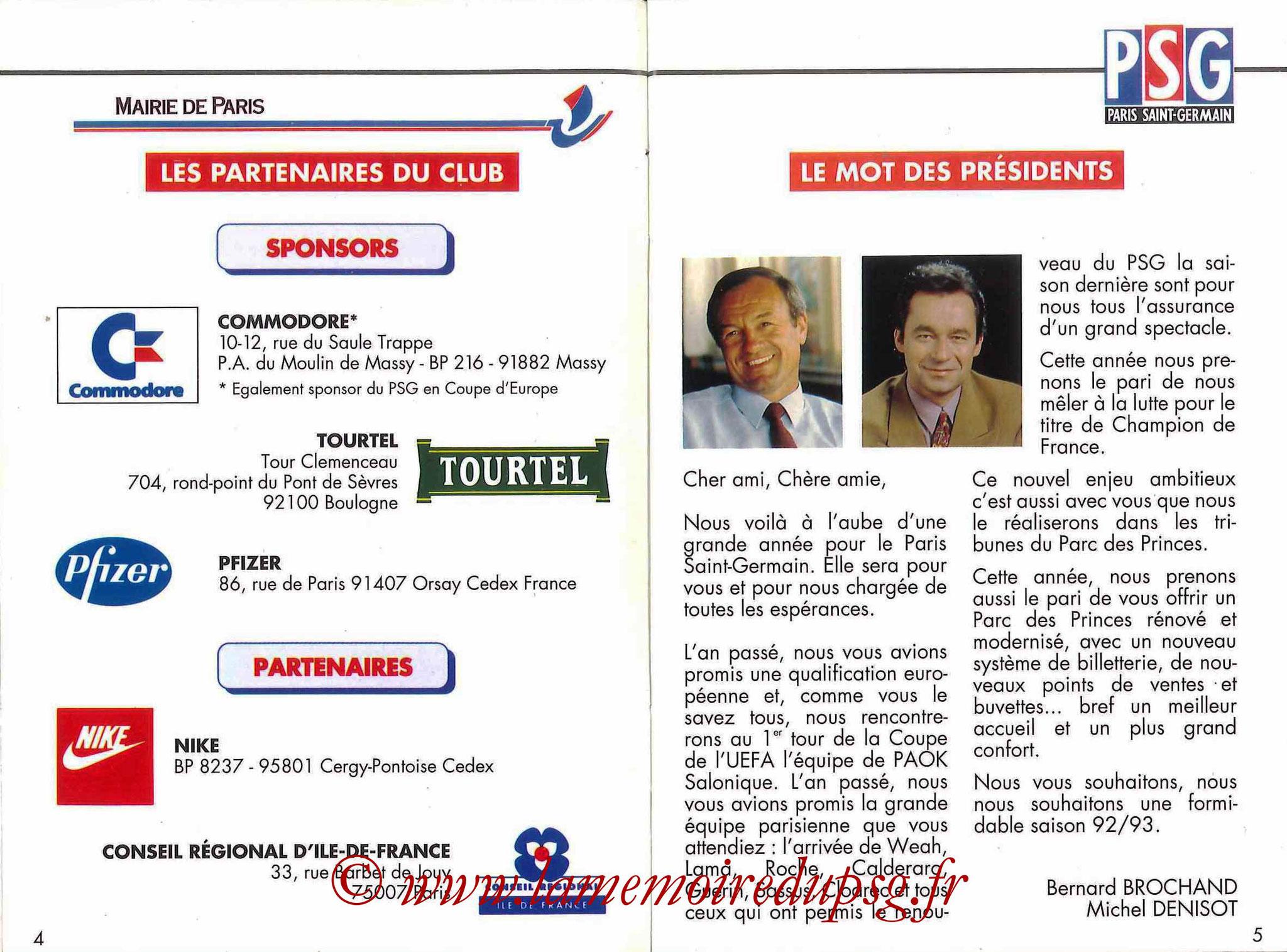 1992-93 - Guide de la Saison PSG - Pages 4 et 5