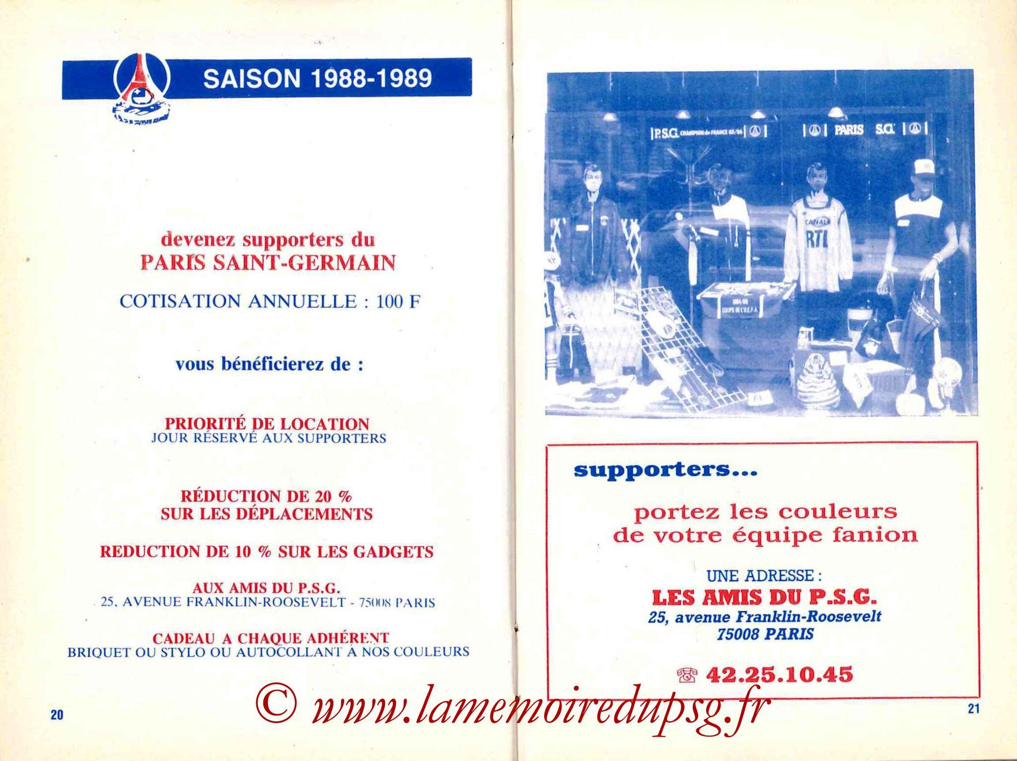 1988-89 - Guide de la Saison PSG - Pages 20 et 21