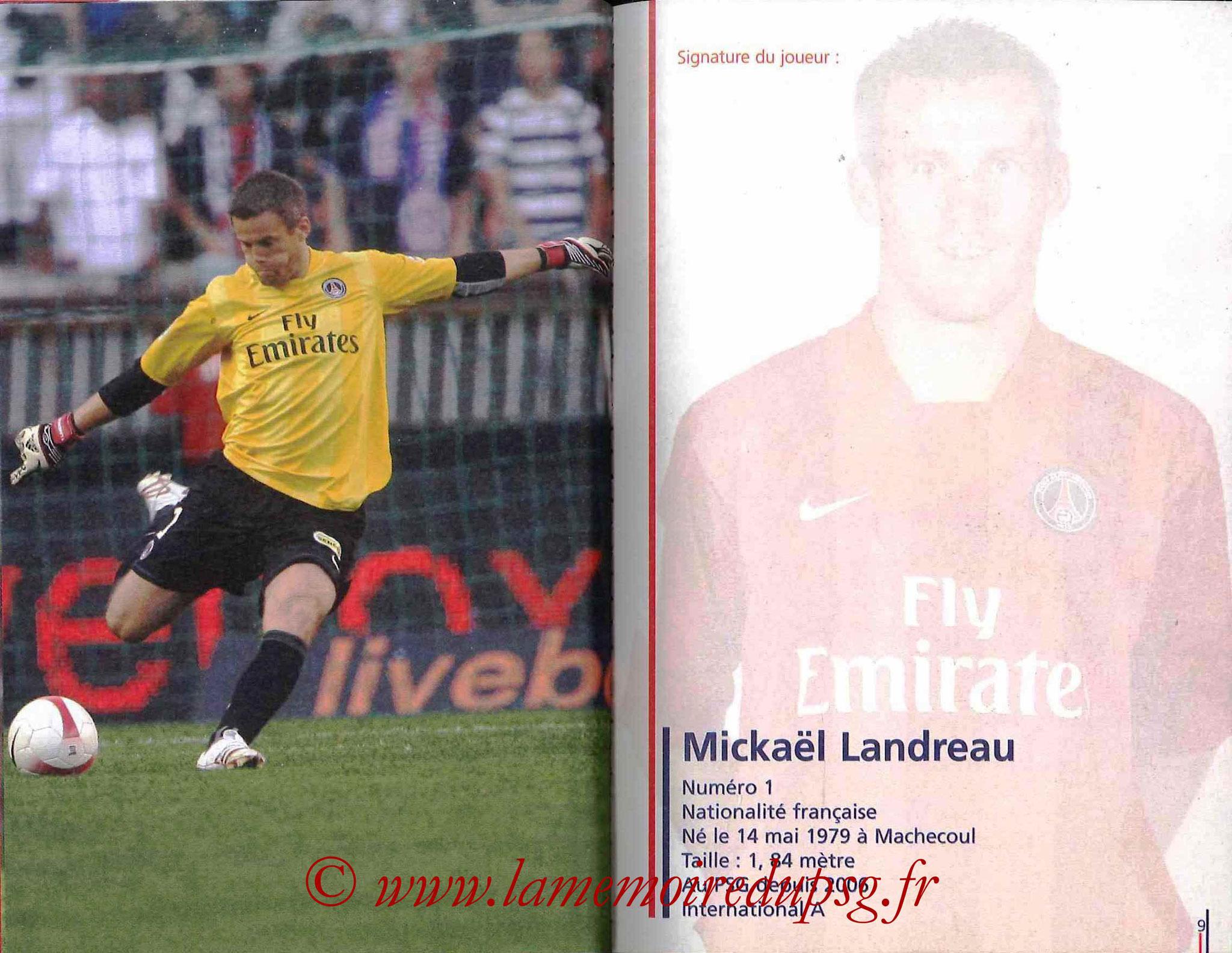 2007-08 - Guide de la Saison PSG - Pages 8 et 9 - Mickaêl LANDREAU
