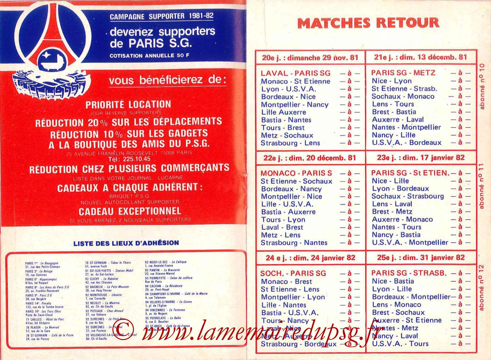 1981-82 - Guide de la Saison PSG - Pages 8 et 9