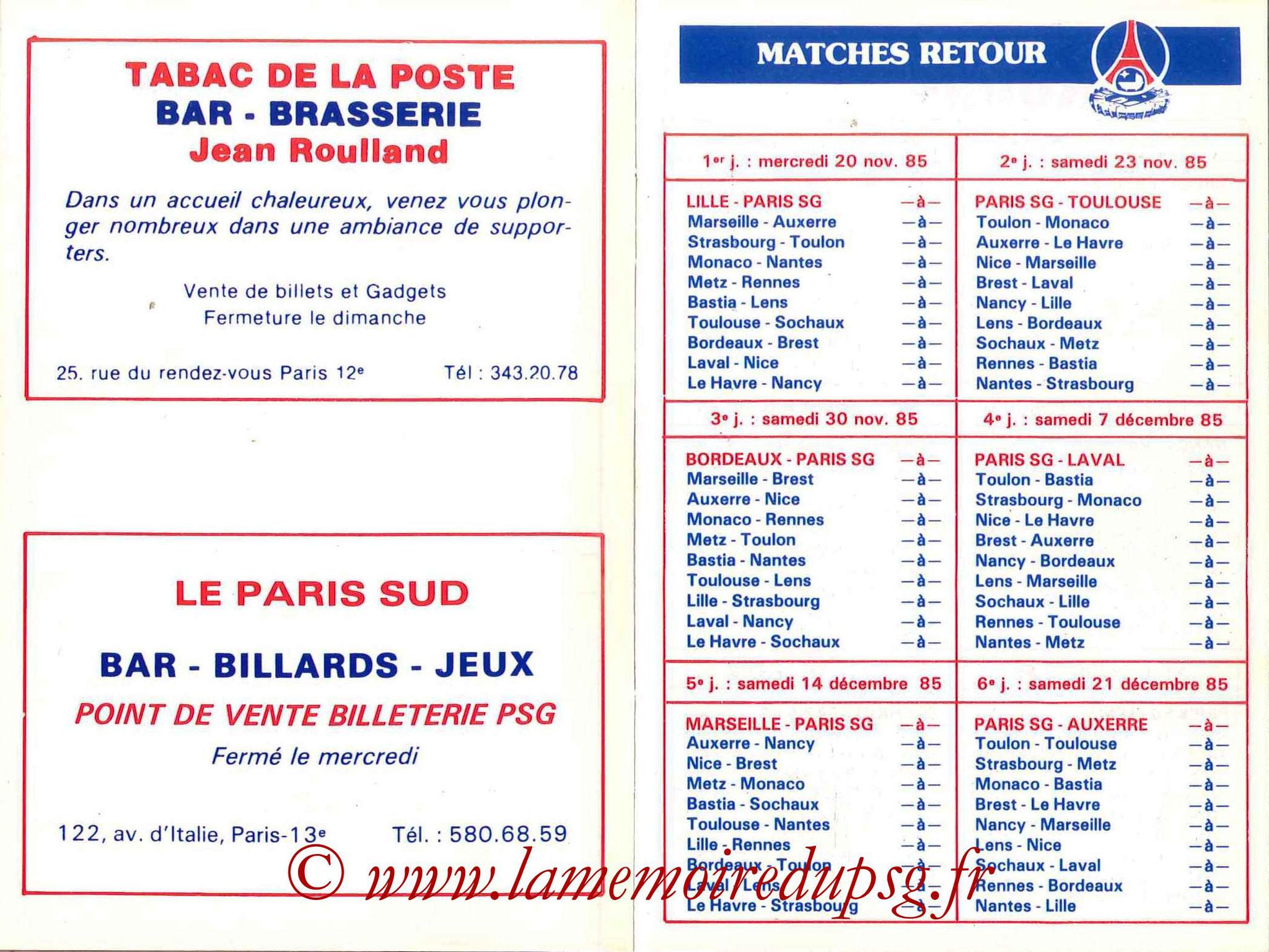1985-86 - Guide de la Saison PSG - Pages 8 et 9