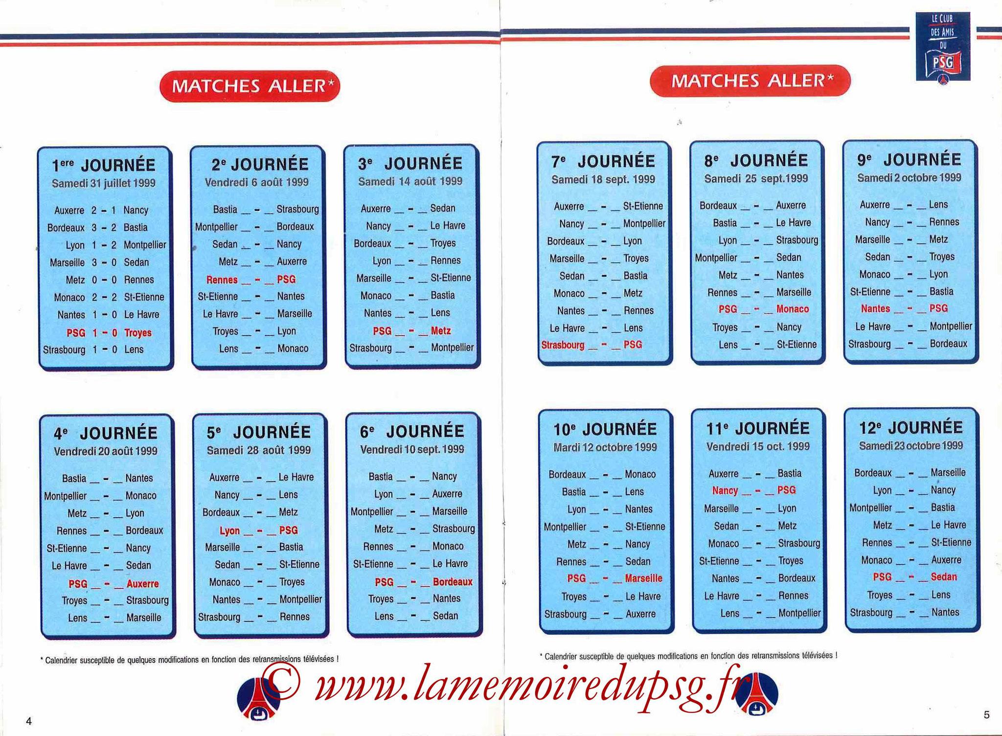 1999-00 - Guide de la Saison PSG - Pages 4 et 5