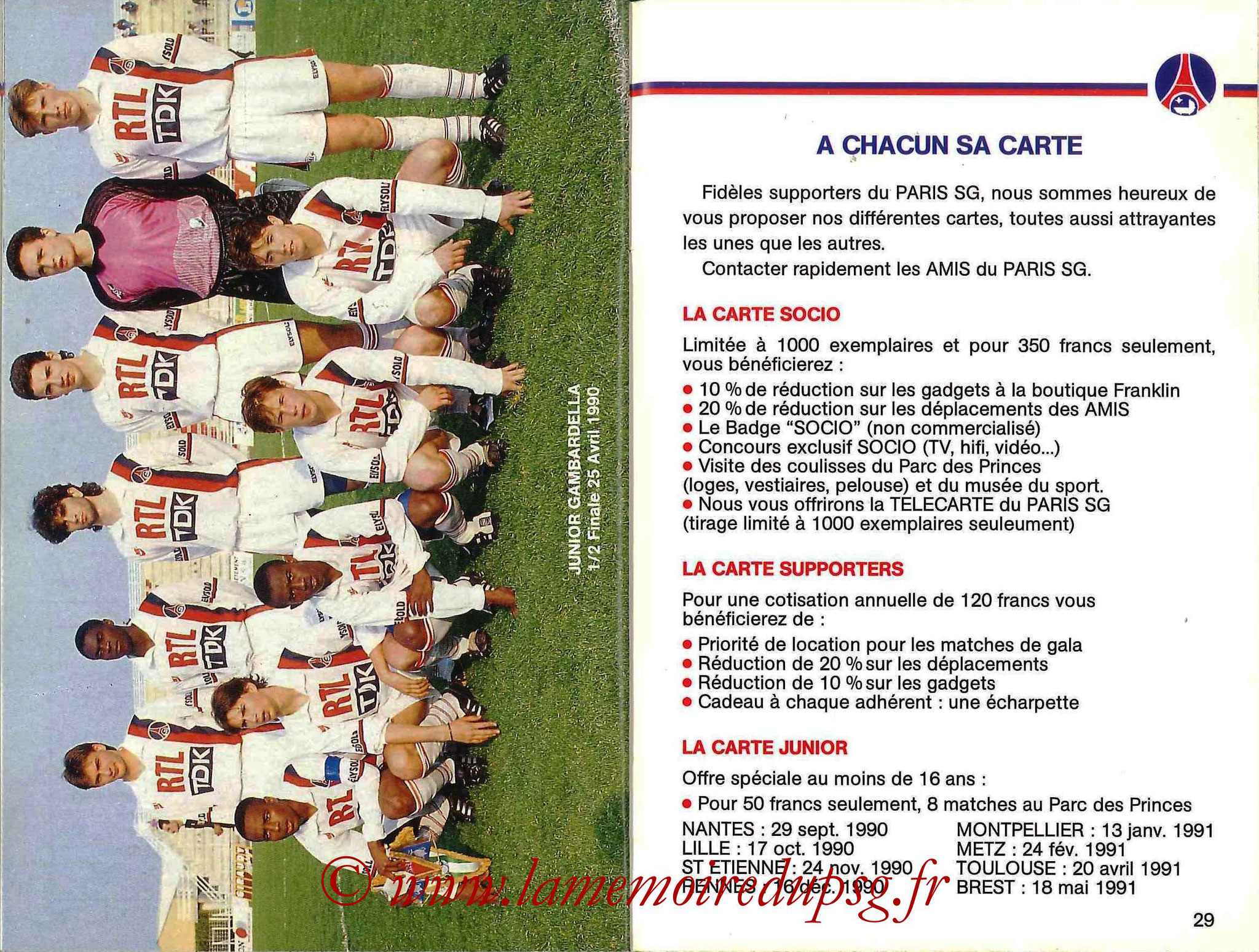 1990-91 - Guide de la Saison PSG - Pages 28 et 29