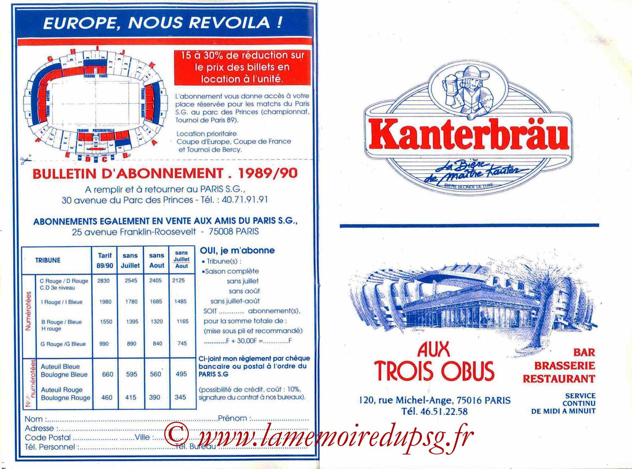 1989-90 - Guide de la Saison PSG - Pages 10 et 11