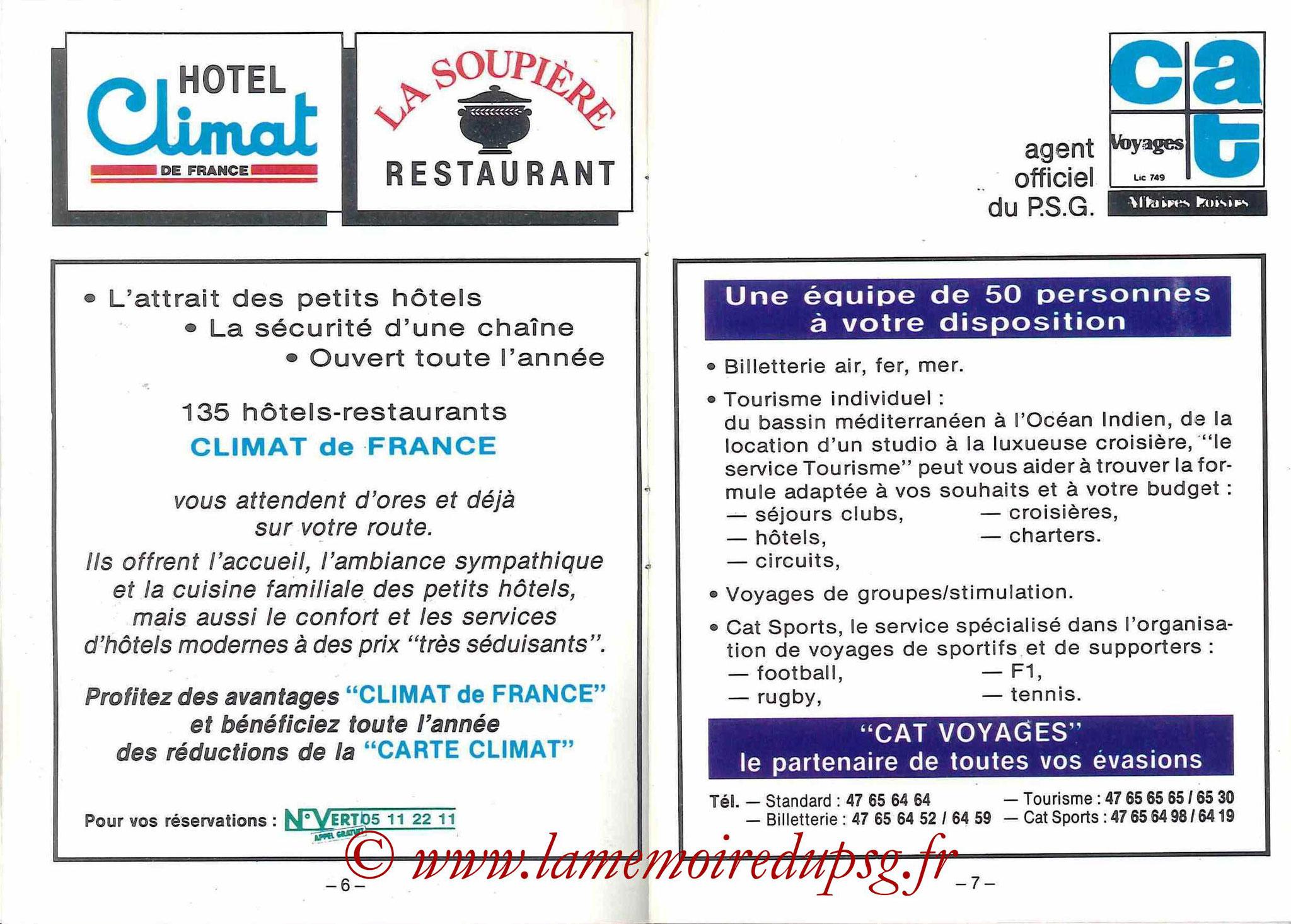 1988-89 - Passeport Abonné du PSG - Pages 6 et 7