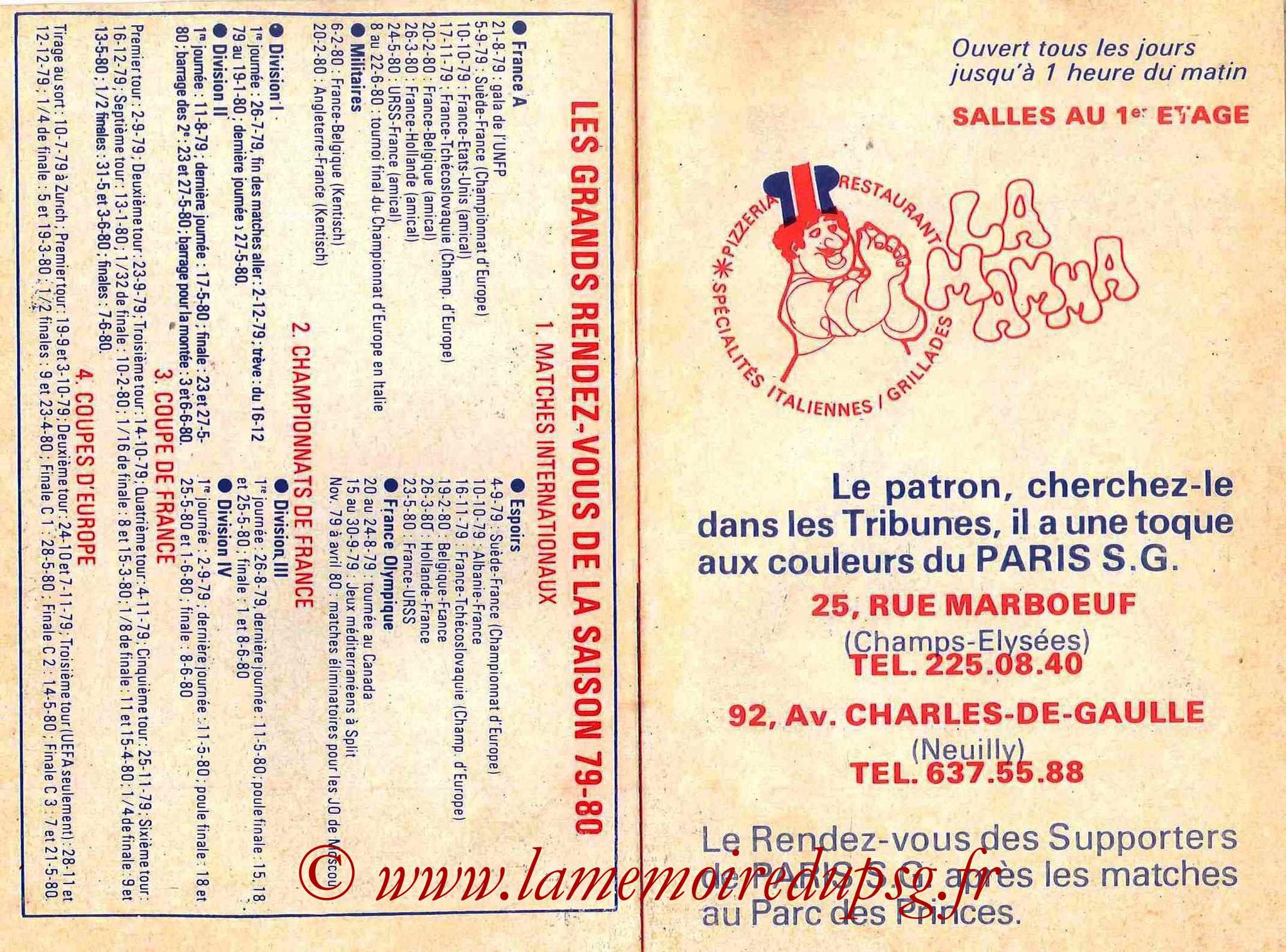 1979-80 - Guide de la Saison PSG - Pages 14 et 15