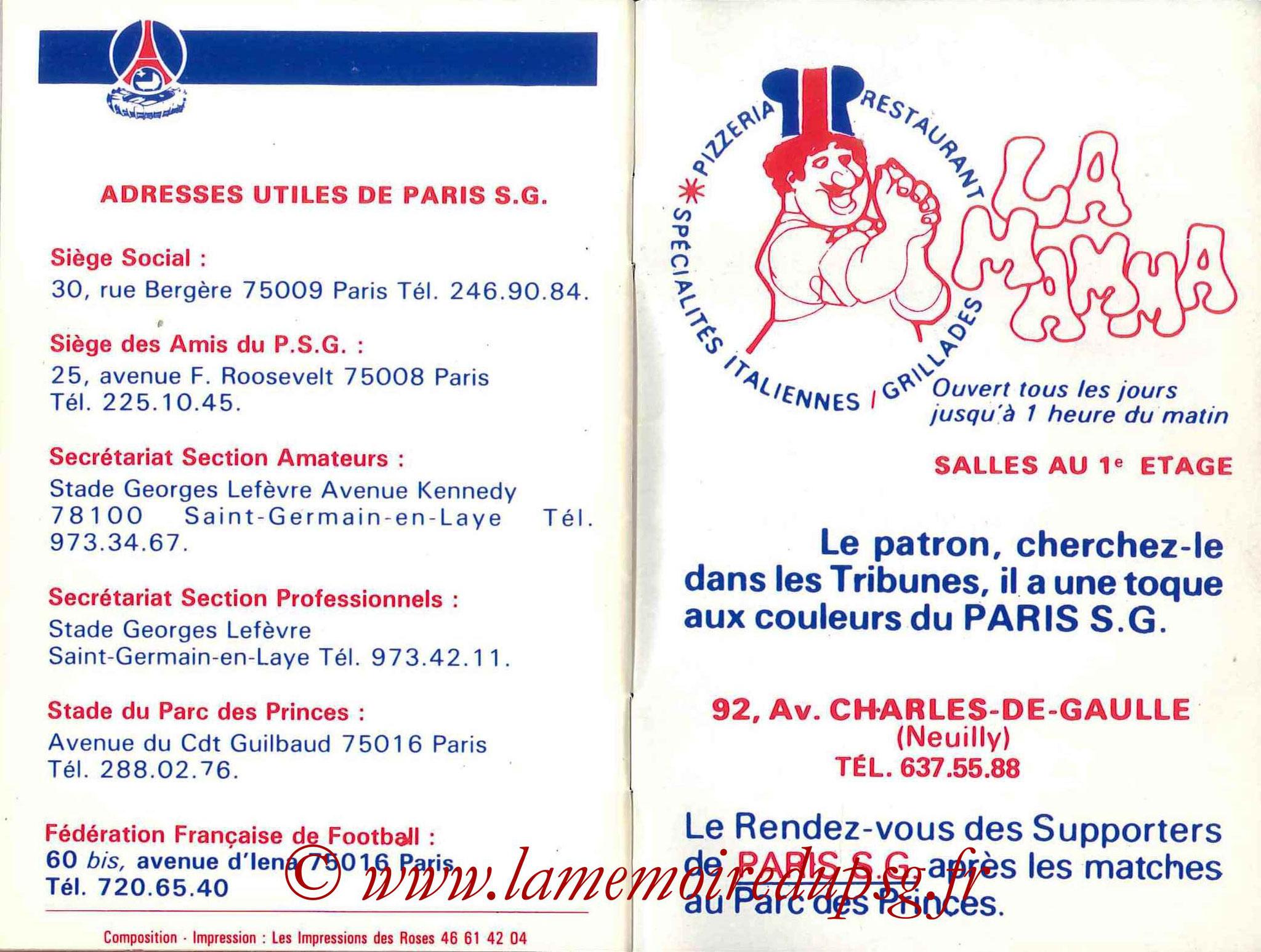 1985-86 - Guide de la Saison PSG - Pages 34 et 35