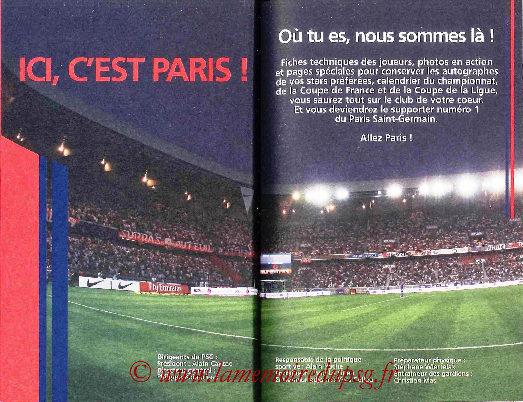 2007-08 - Guide de la Saison PSG - Pages 4 et 5