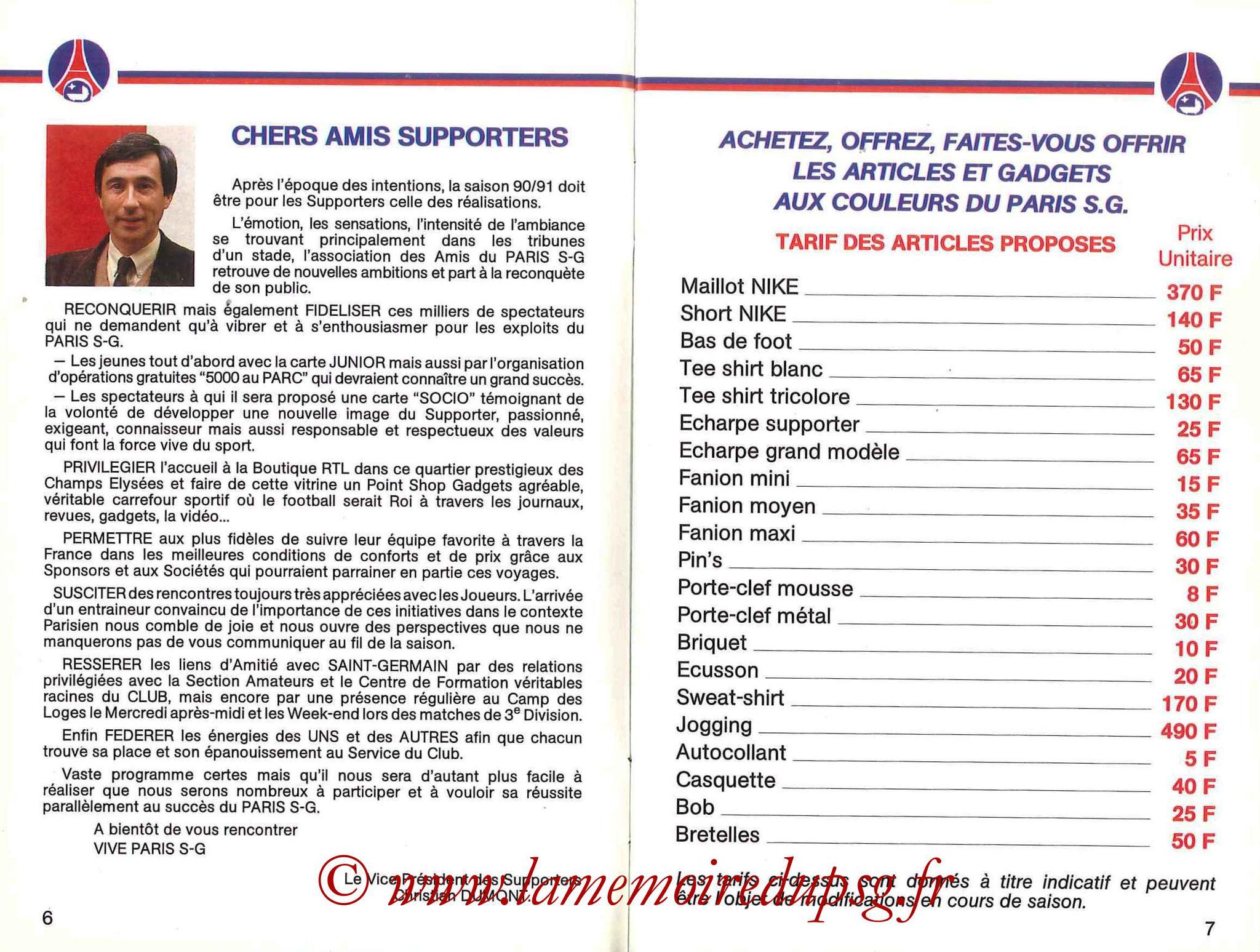 1990-91 - Guide de la Saison PSG - Pages 6 et 7