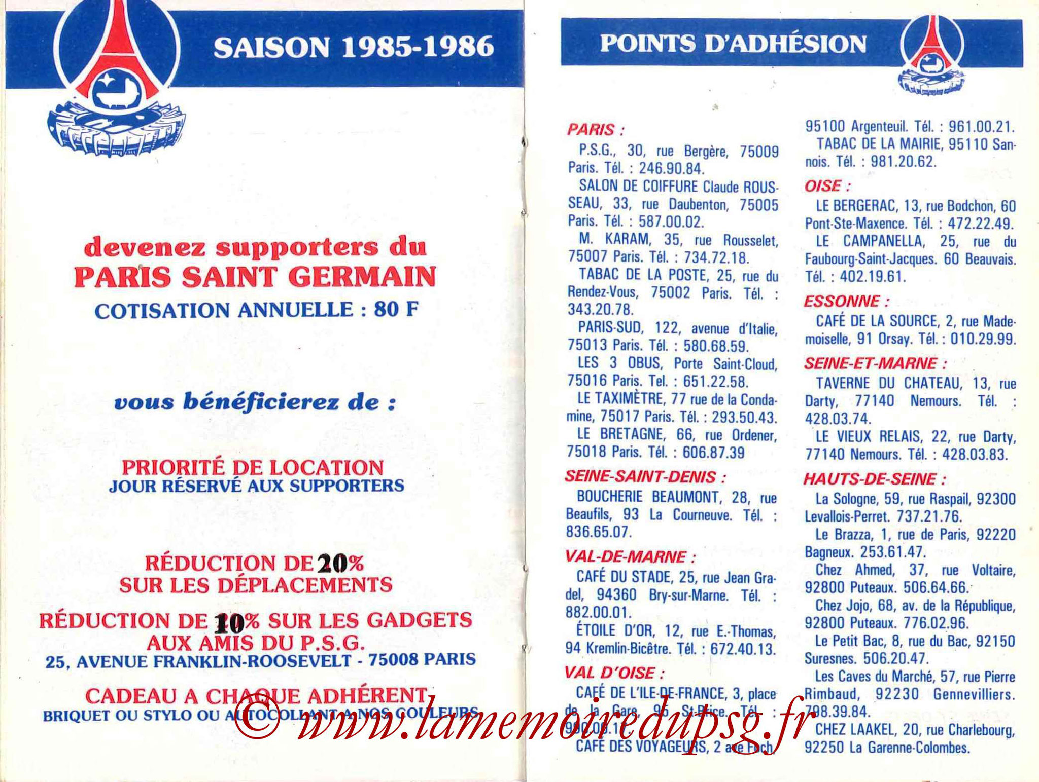 1985-86 - Guide de la Saison PSG - Pages 20 et 21