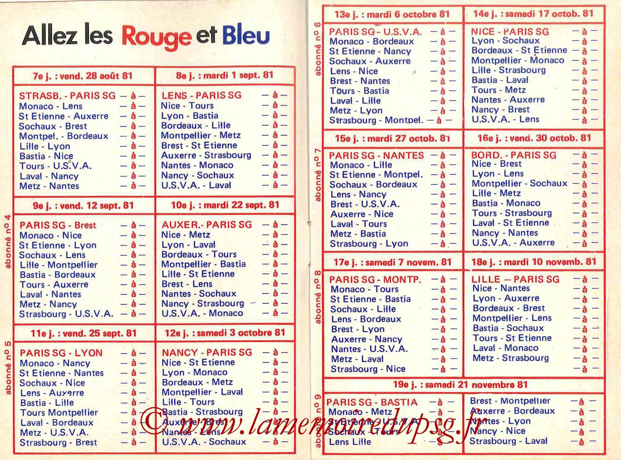 1981-82 - Guide de la Saison PSG - Pages 6 et 7