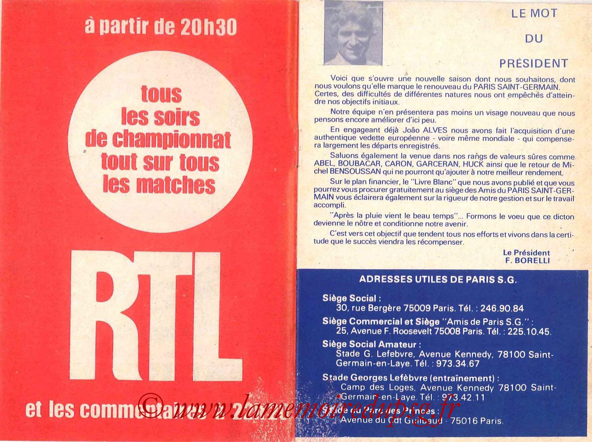 1979-80 - Guide de la Saison PSG - Pages 2 et 3
