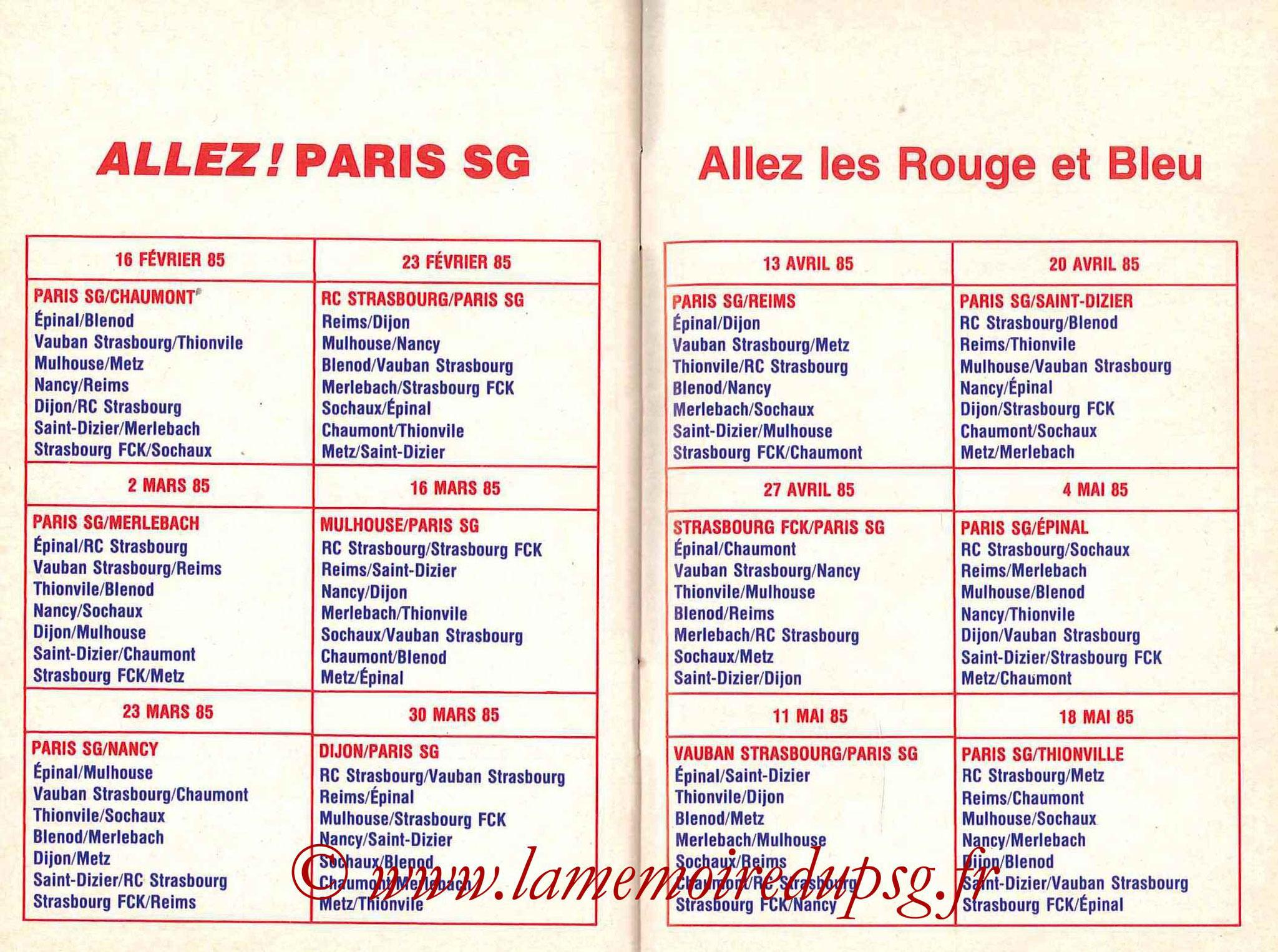 1984-85 - Guide de la Saison PSG - Pages 26 et 27