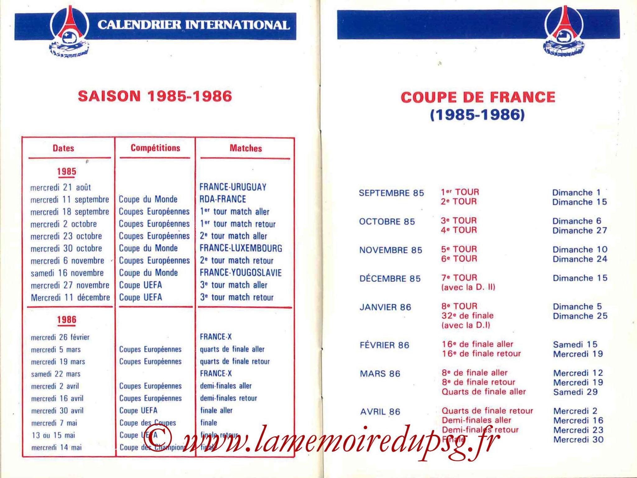 1985-86 - Guide de la Saison PSG - Pages 32 et 33
