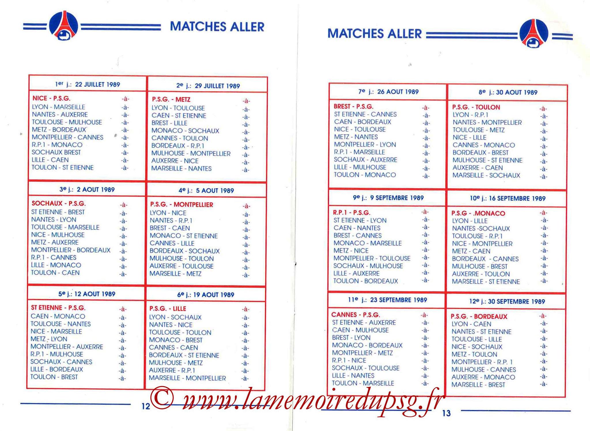 1989-90 - Guide de la Saison PSG - Pages 12 et 13