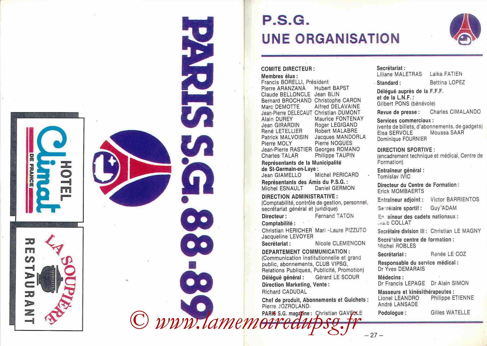 1988-89 - Passeport Abonné du PSG - Pages 26 et 27