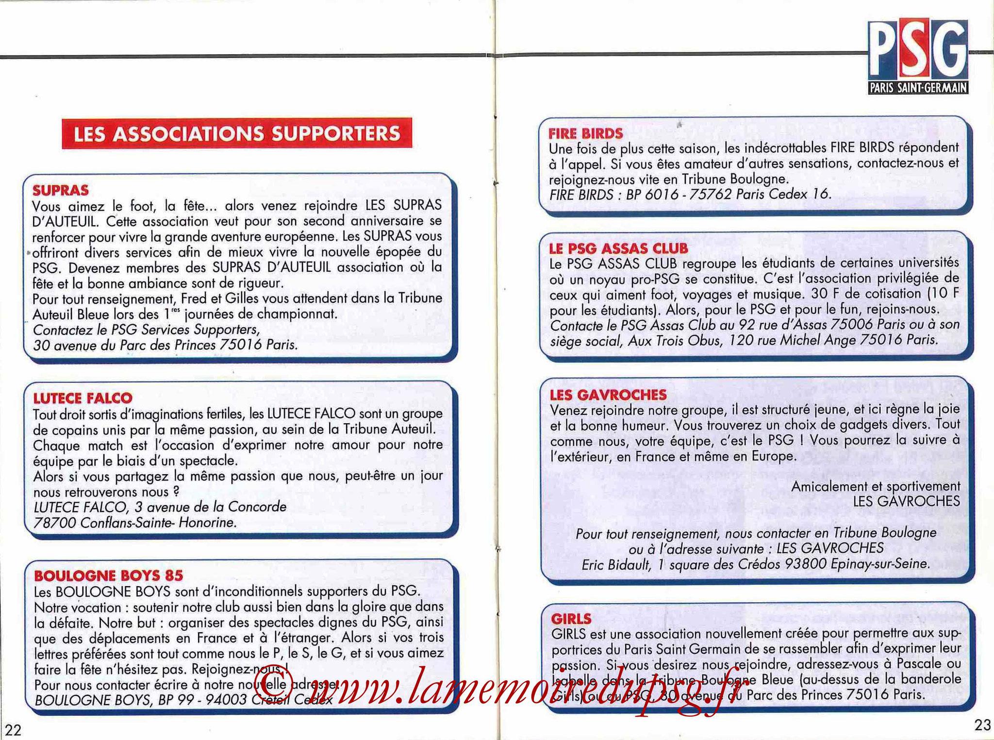 1992-93 - Guide de la Saison PSG - Pages 22 et 23