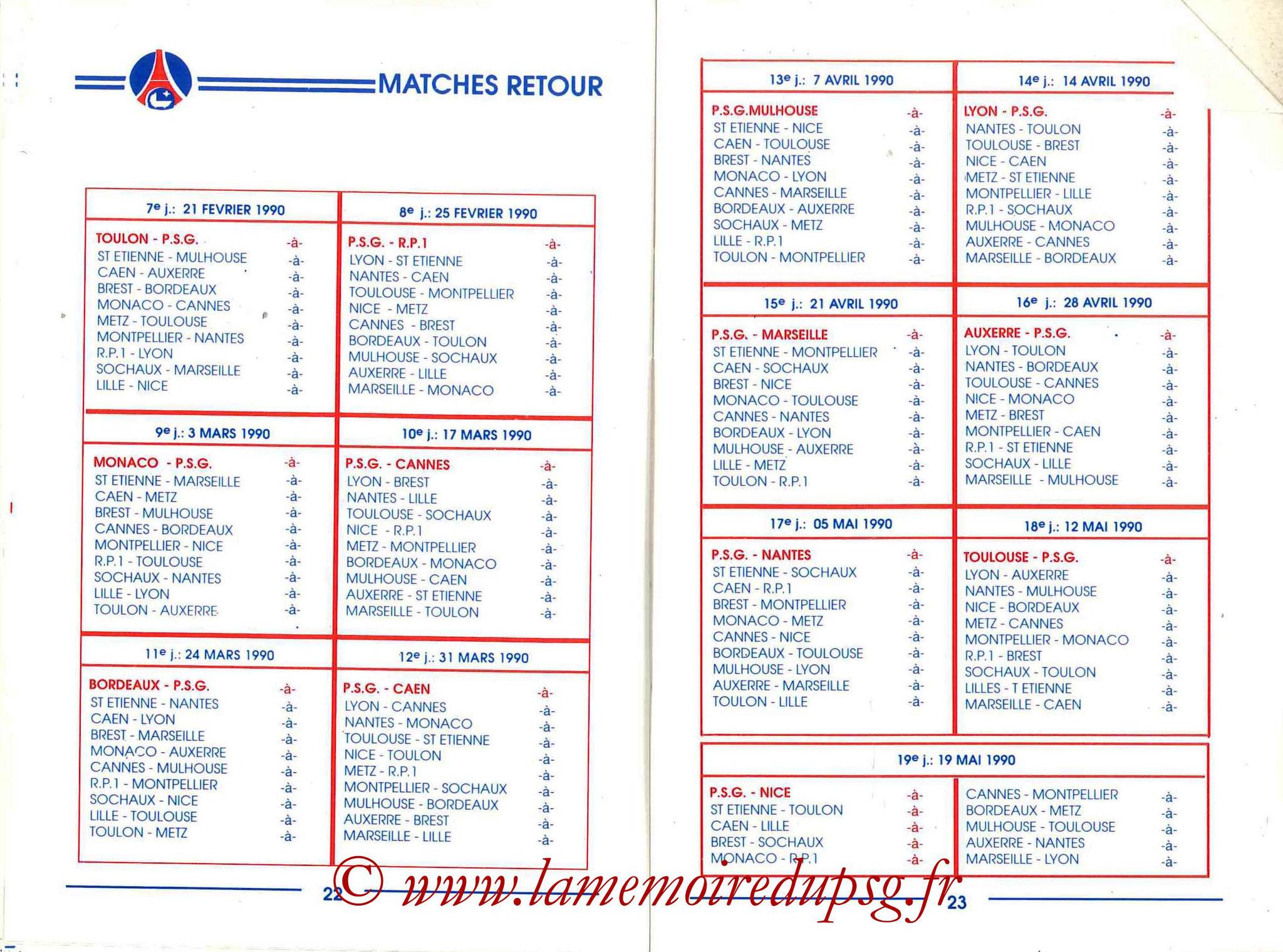 1989-90 - Guide de la Saison PSG - Pages 22 et 23