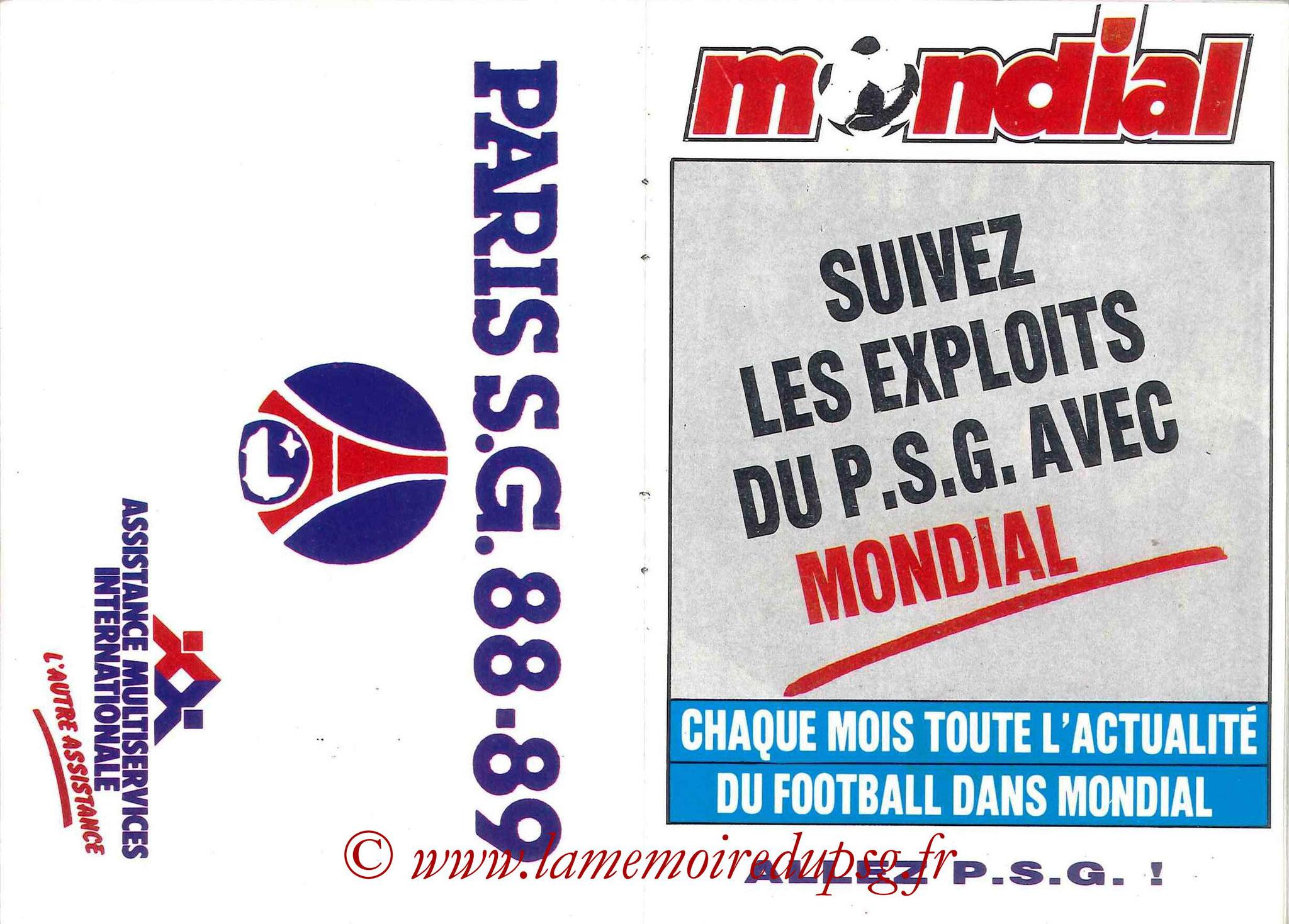 1988-89 - Passeport Abonné du PSG - Pages 14 et 15