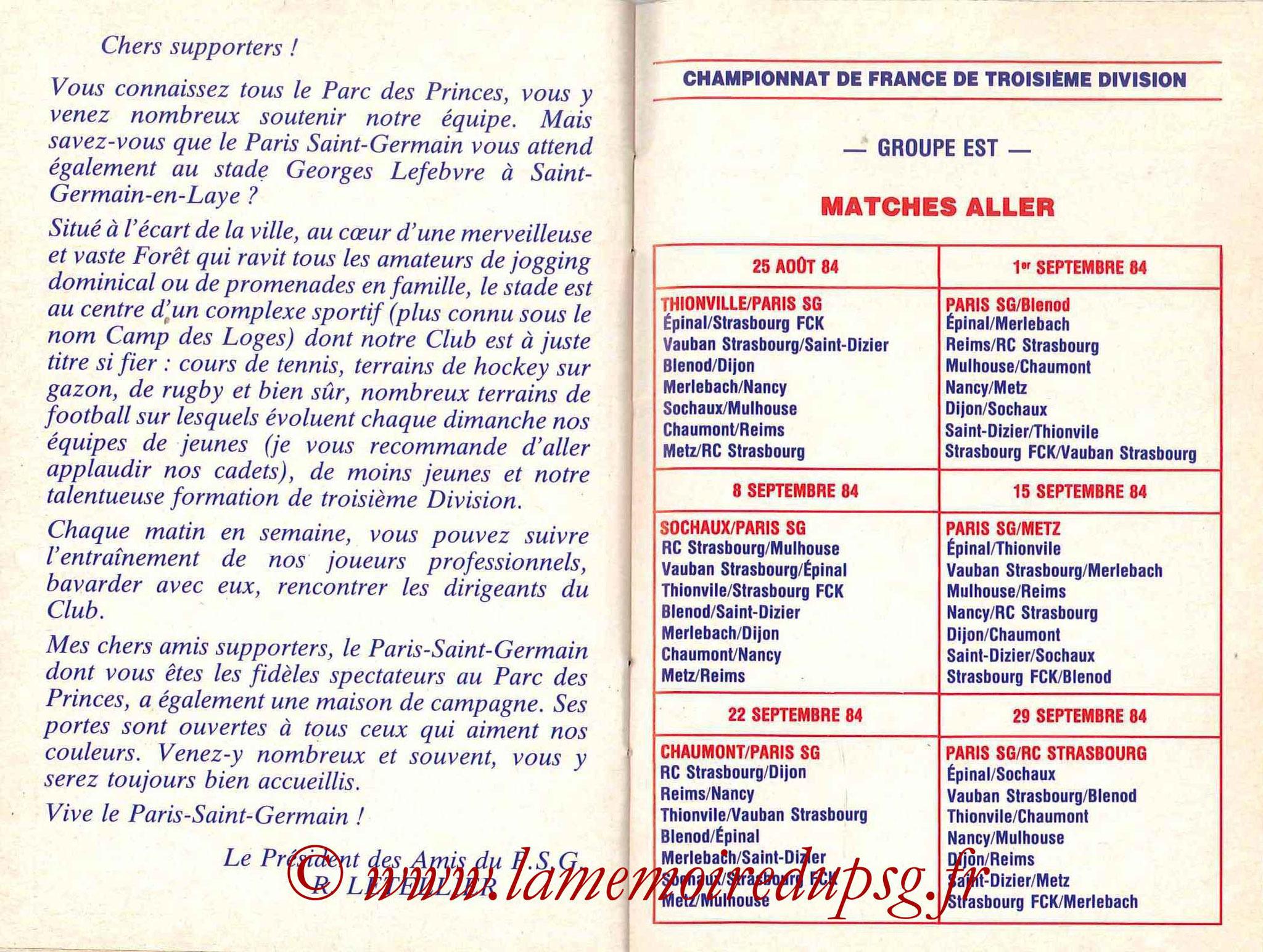 1984-85 - Guide de la Saison PSG - Pages 22 et 23