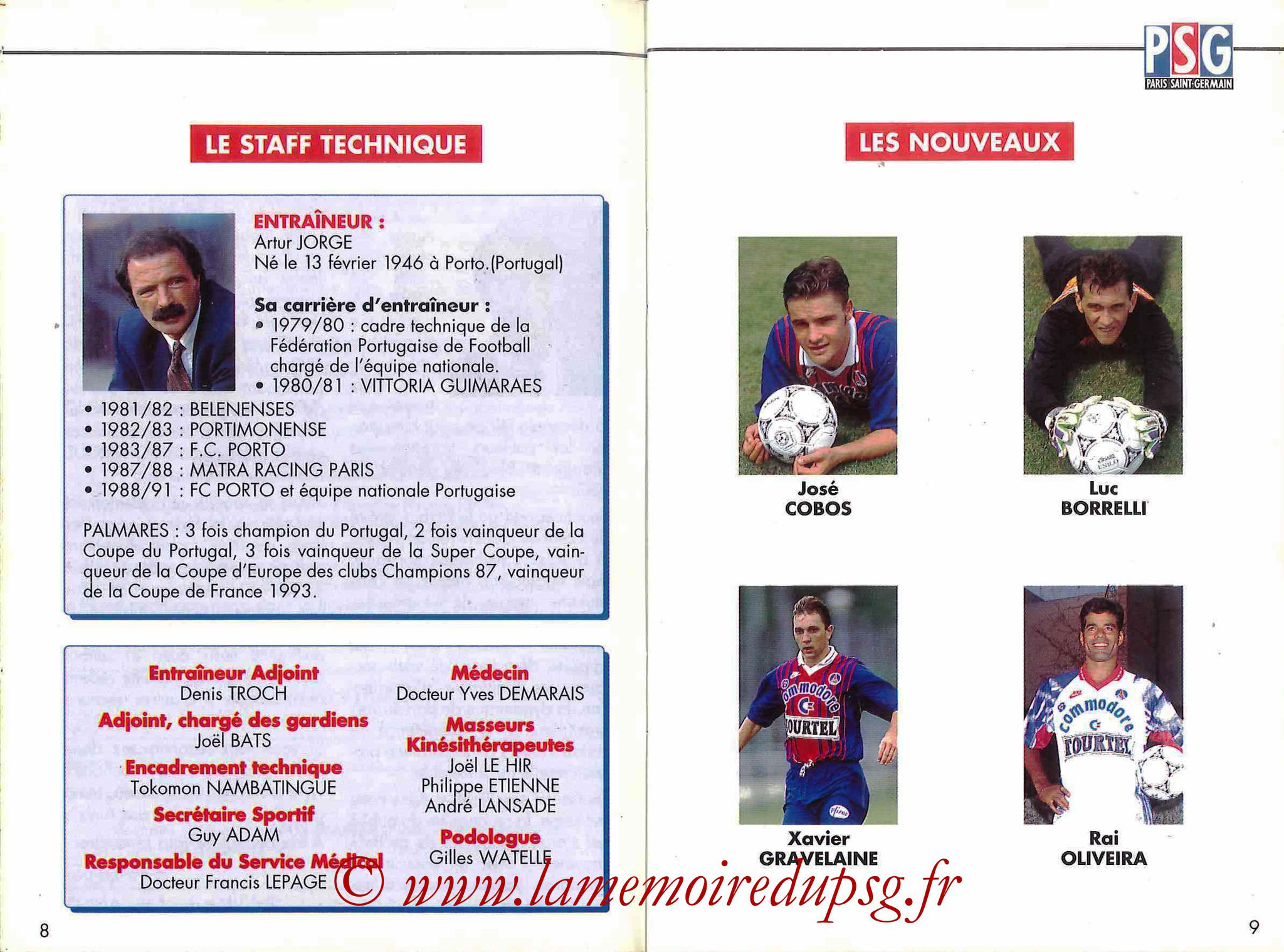 1993-94 - Guide de la Saison PSG - Pages 8 et 9