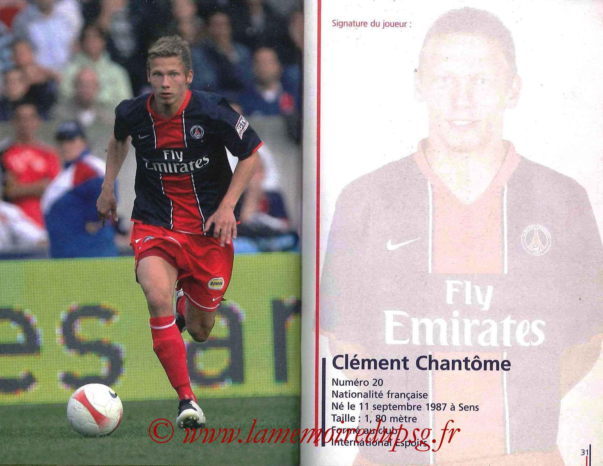 2007-08 - Guide de la Saison PSG - Pages 30 et 31 - Clément CHANTÔME