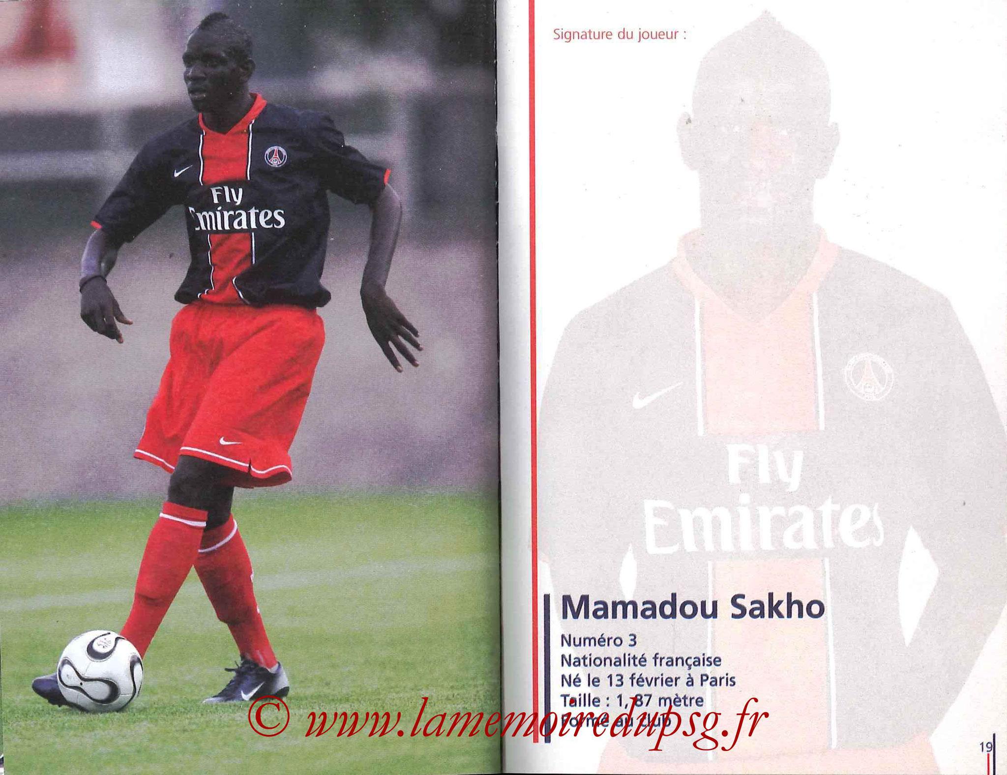 2007-08 - Guide de la Saison PSG - Pages 18 et 19 - Mamadou SAKHO