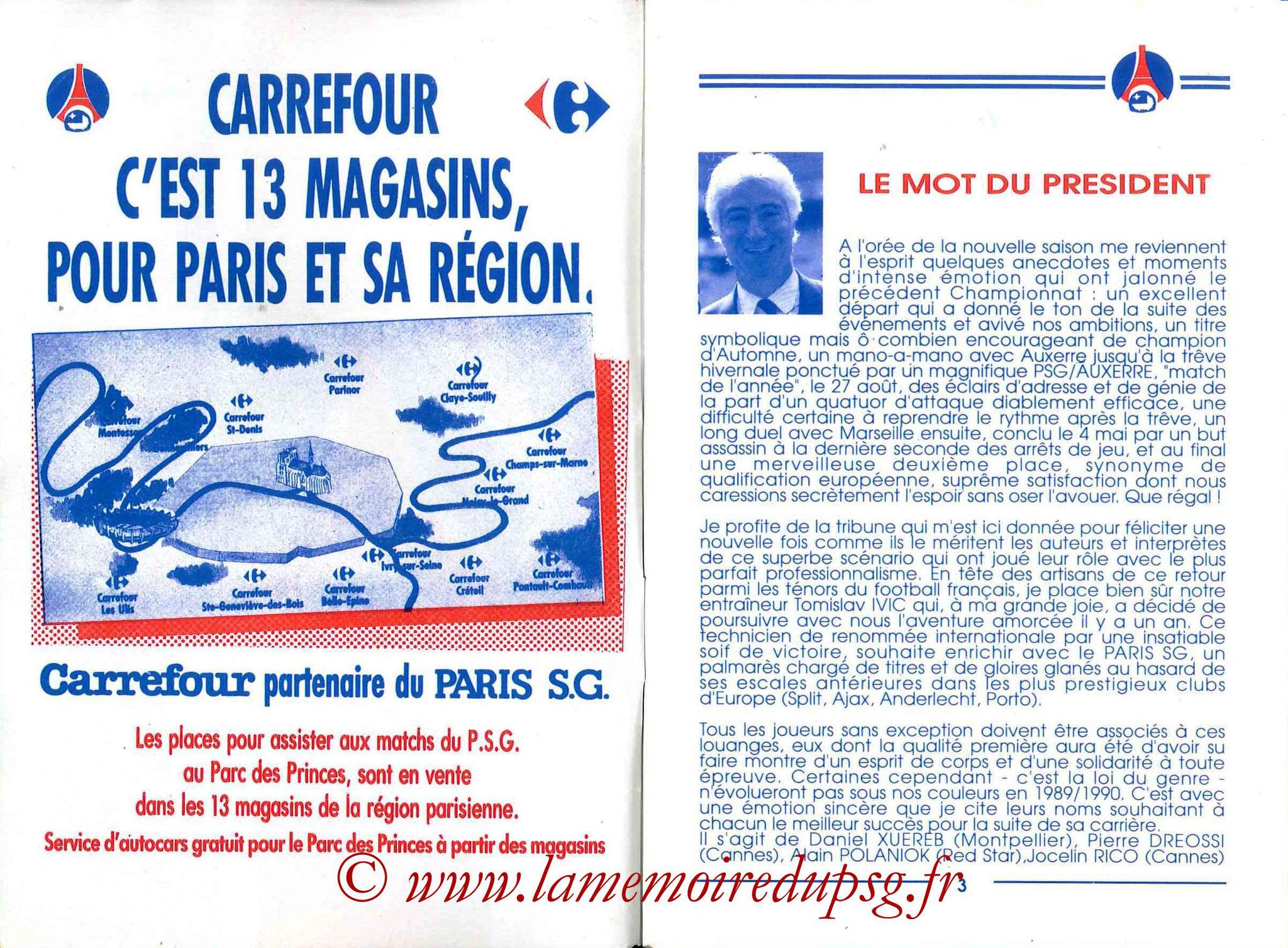 1989-90 - Guide de la Saison PSG - Pages 2 et 3