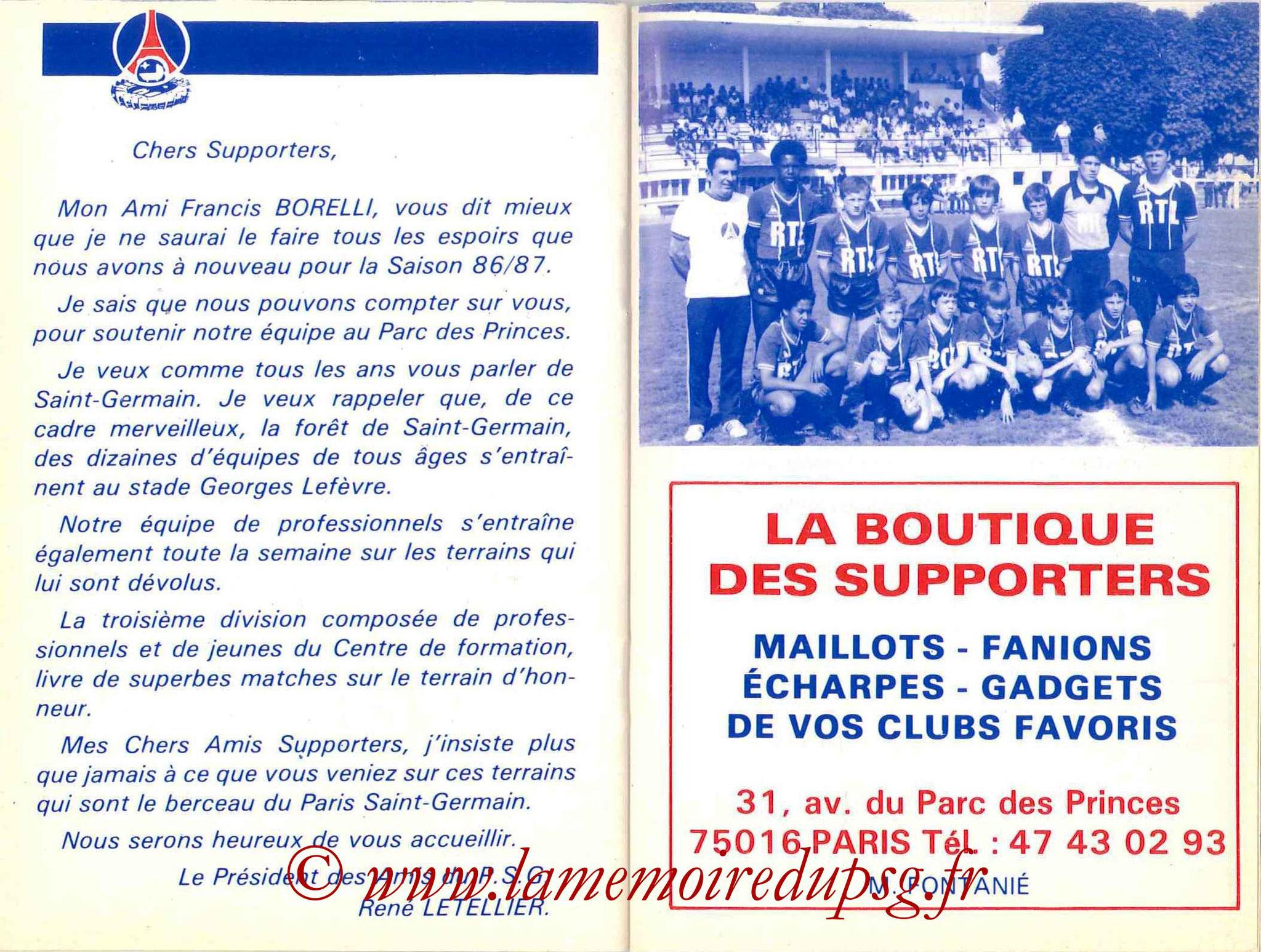 1986-87 - Guide de la Saison PSG - Pages 24 et 25