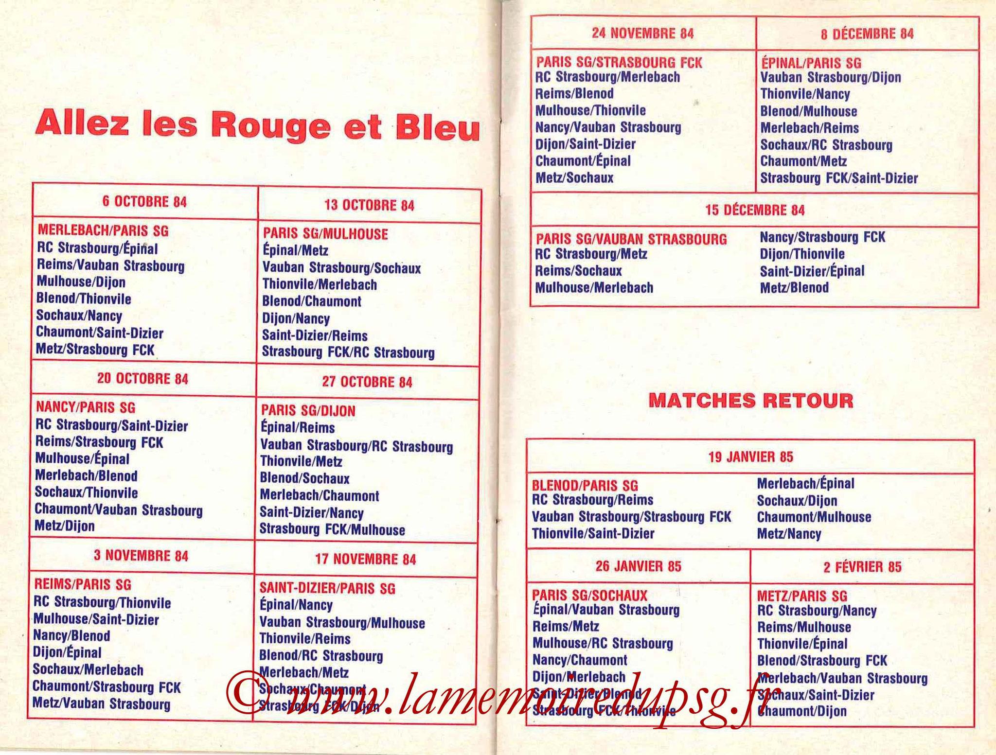 1984-85 - Guide de la Saison PSG - Pages 24 et 25