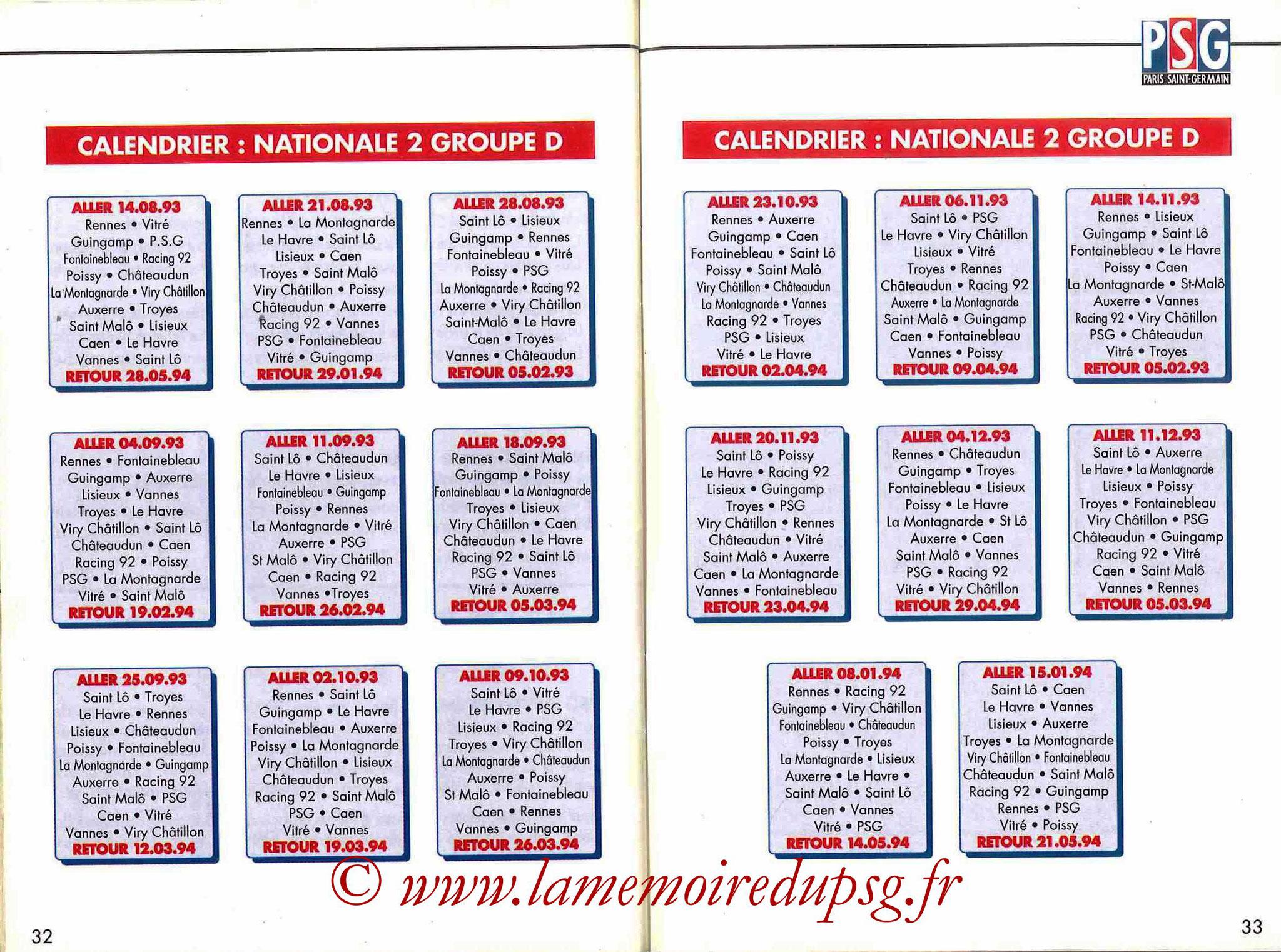 1993-94 - Guide de la Saison PSG - Pages 32 et 33
