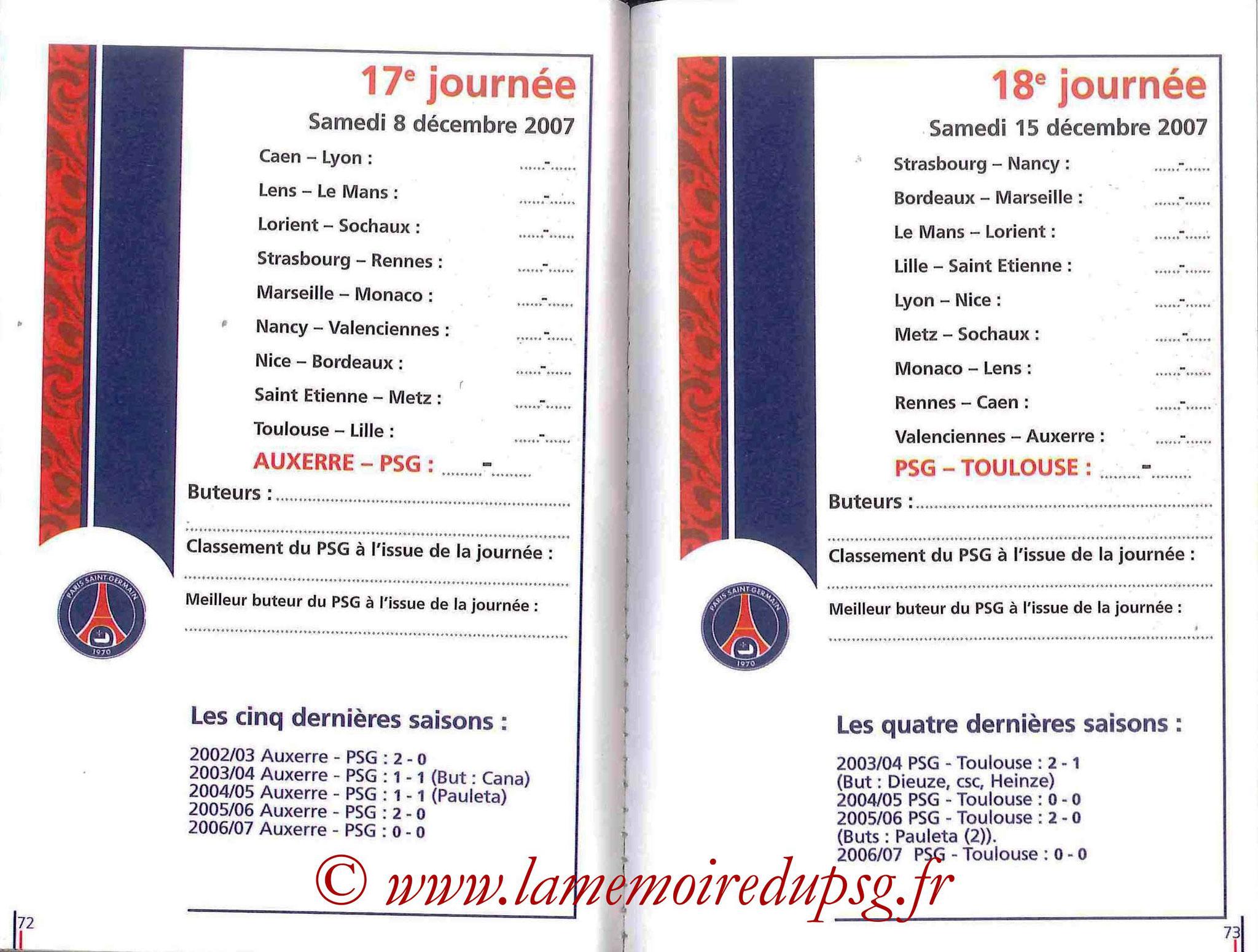 2007-08 - Guide de la Saison PSG - Pages 72 et 73