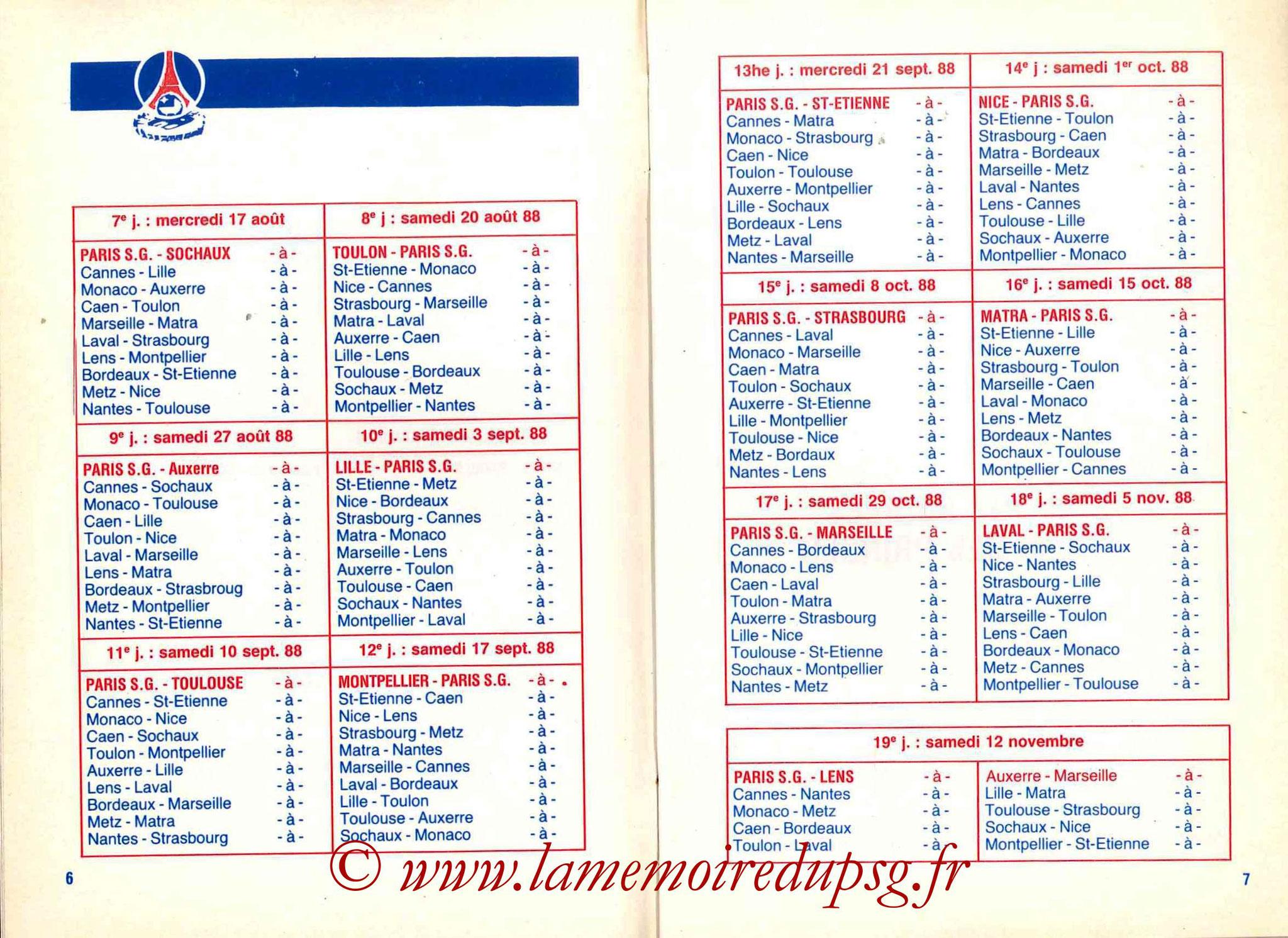 1988-89 - Guide de la Saison PSG - Pages 6 et 7