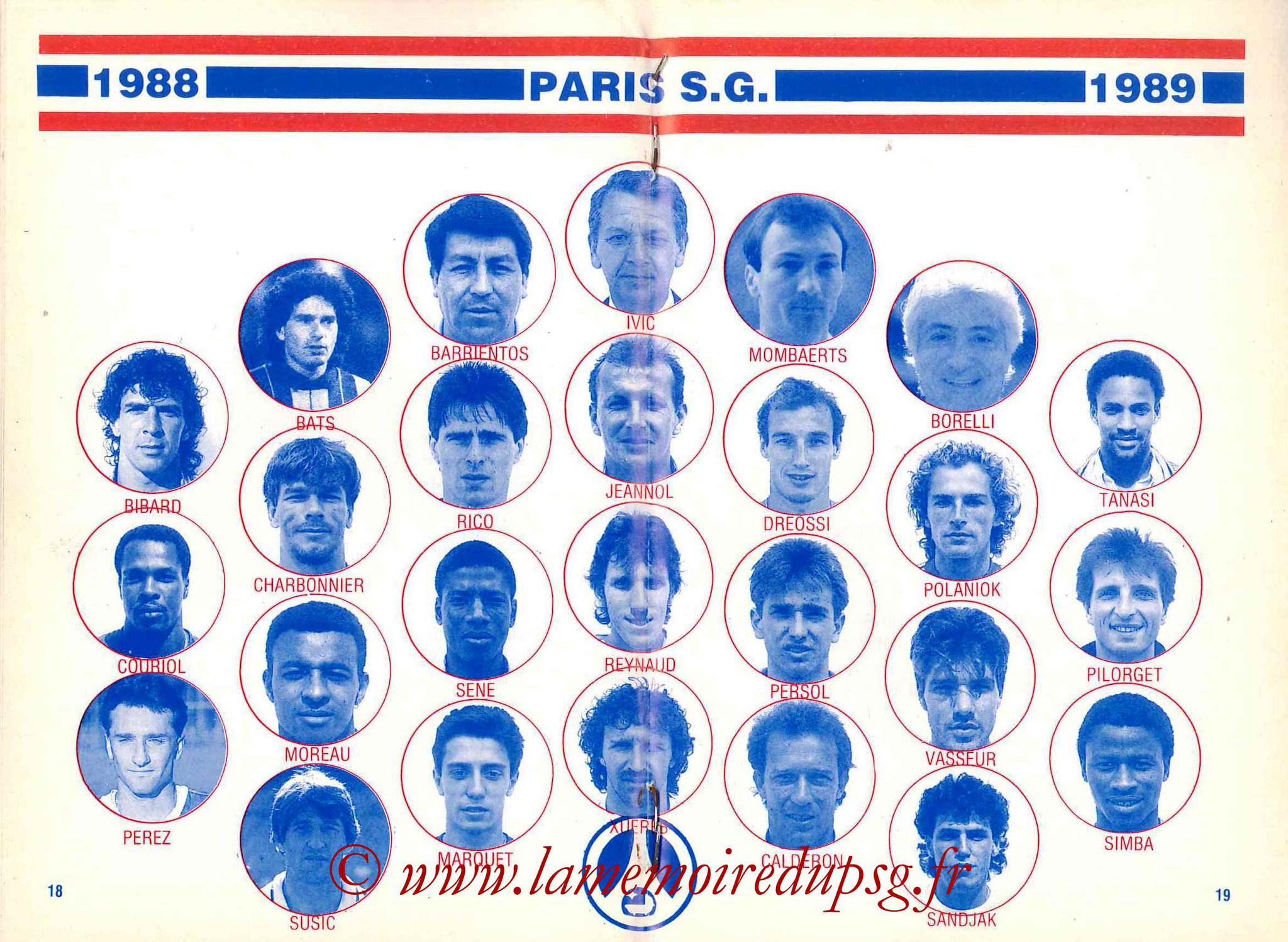 1988-89 - Guide de la Saison PSG - Pages 18 et 19