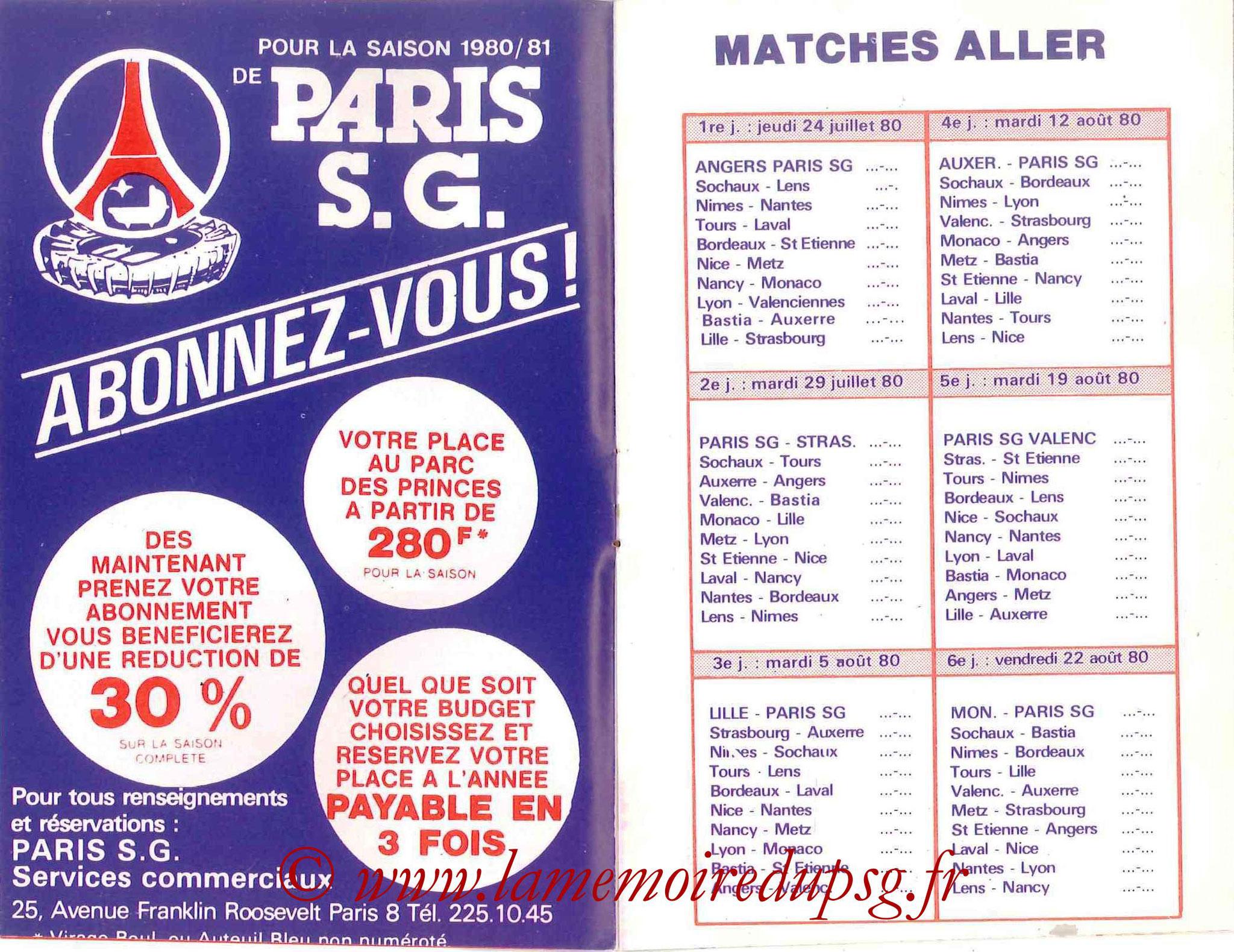 1980-81 - Guide de la Saison PSG - Pages 4 et 5