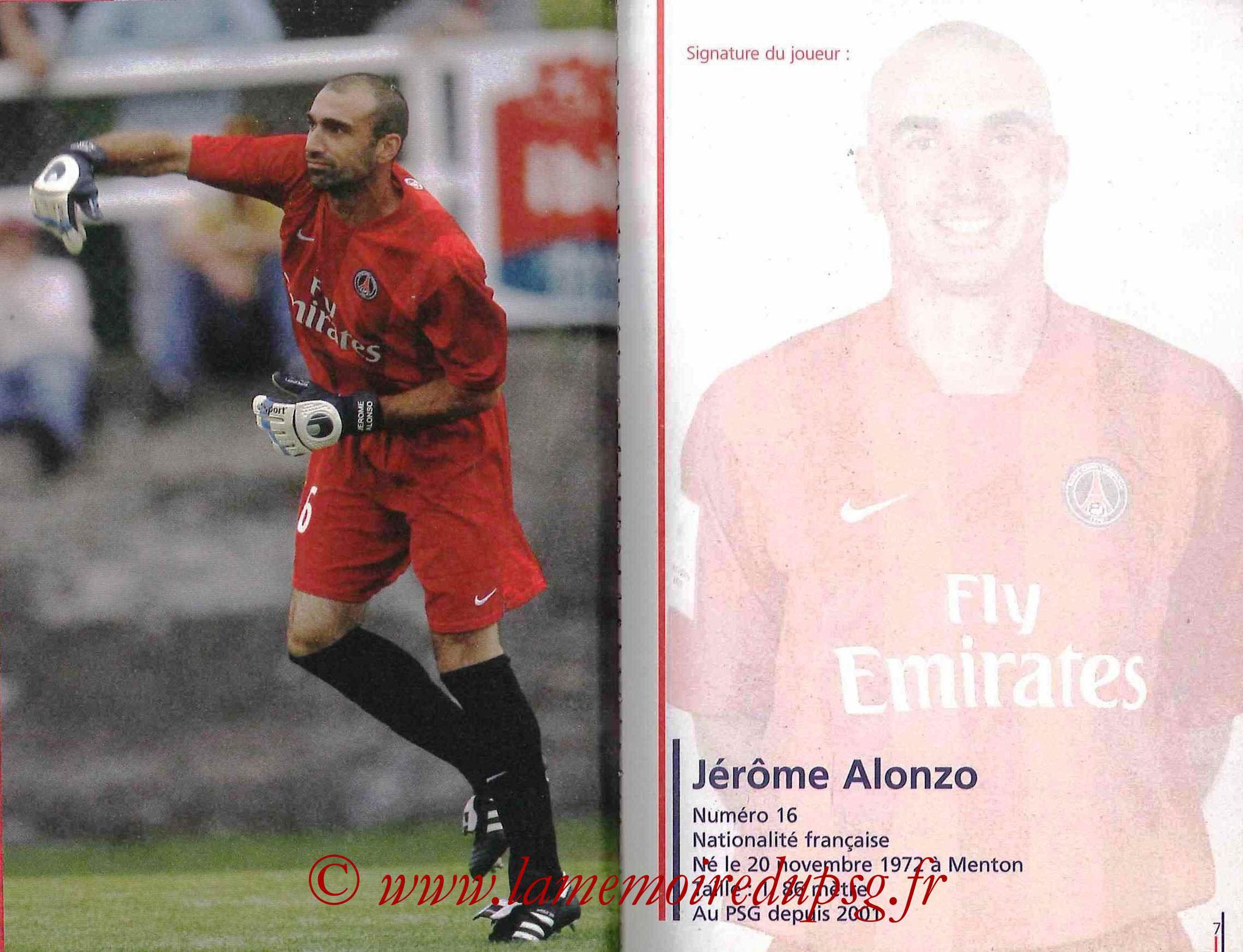 2007-08 - Guide de la Saison PSG - Pages 6 et 7 - Jerome ALONZO