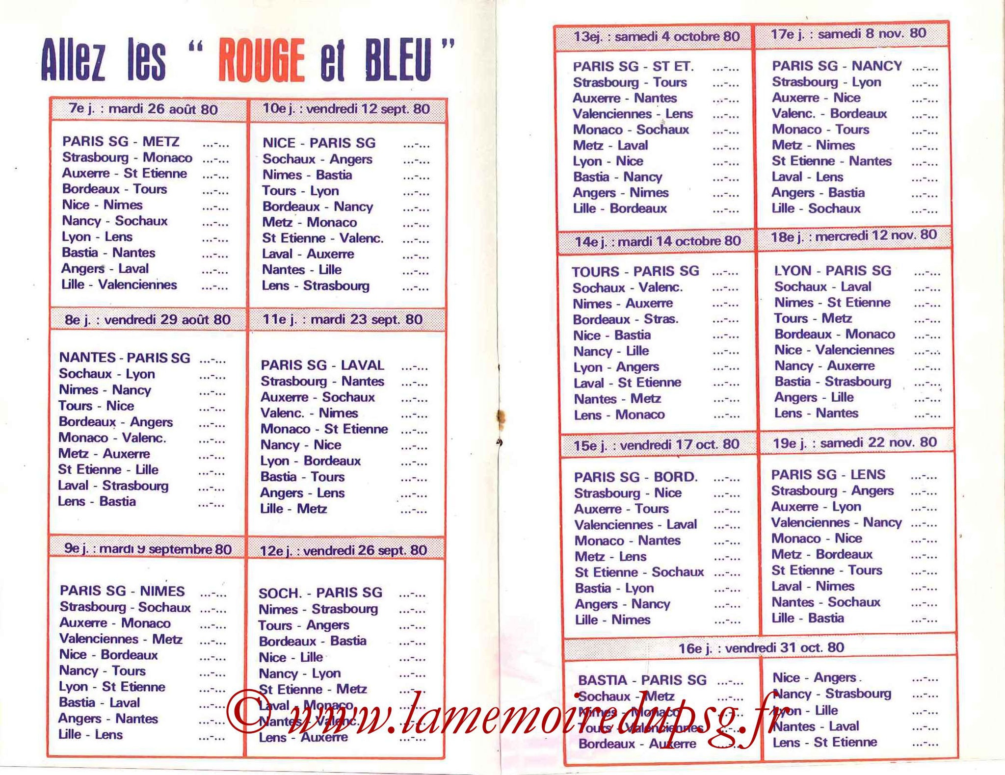 1980-81 - Guide de la Saison PSG - Pages 6 et 7