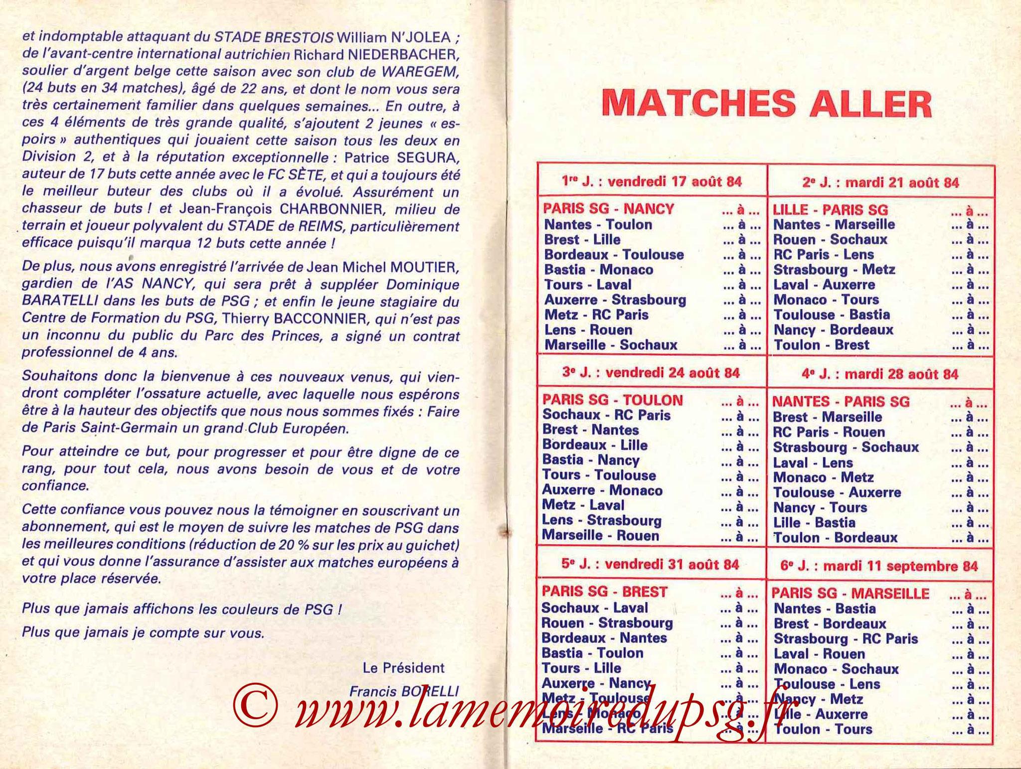 1984-85 - Guide de la Saison PSG - Pages 4 et 5