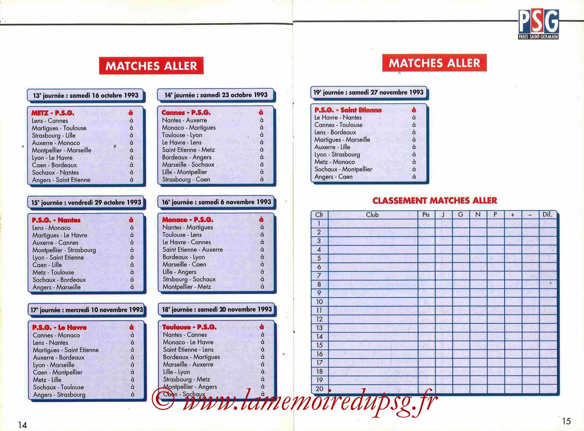1993-94 - Guide de la Saison PSG - Pages 14 et 15