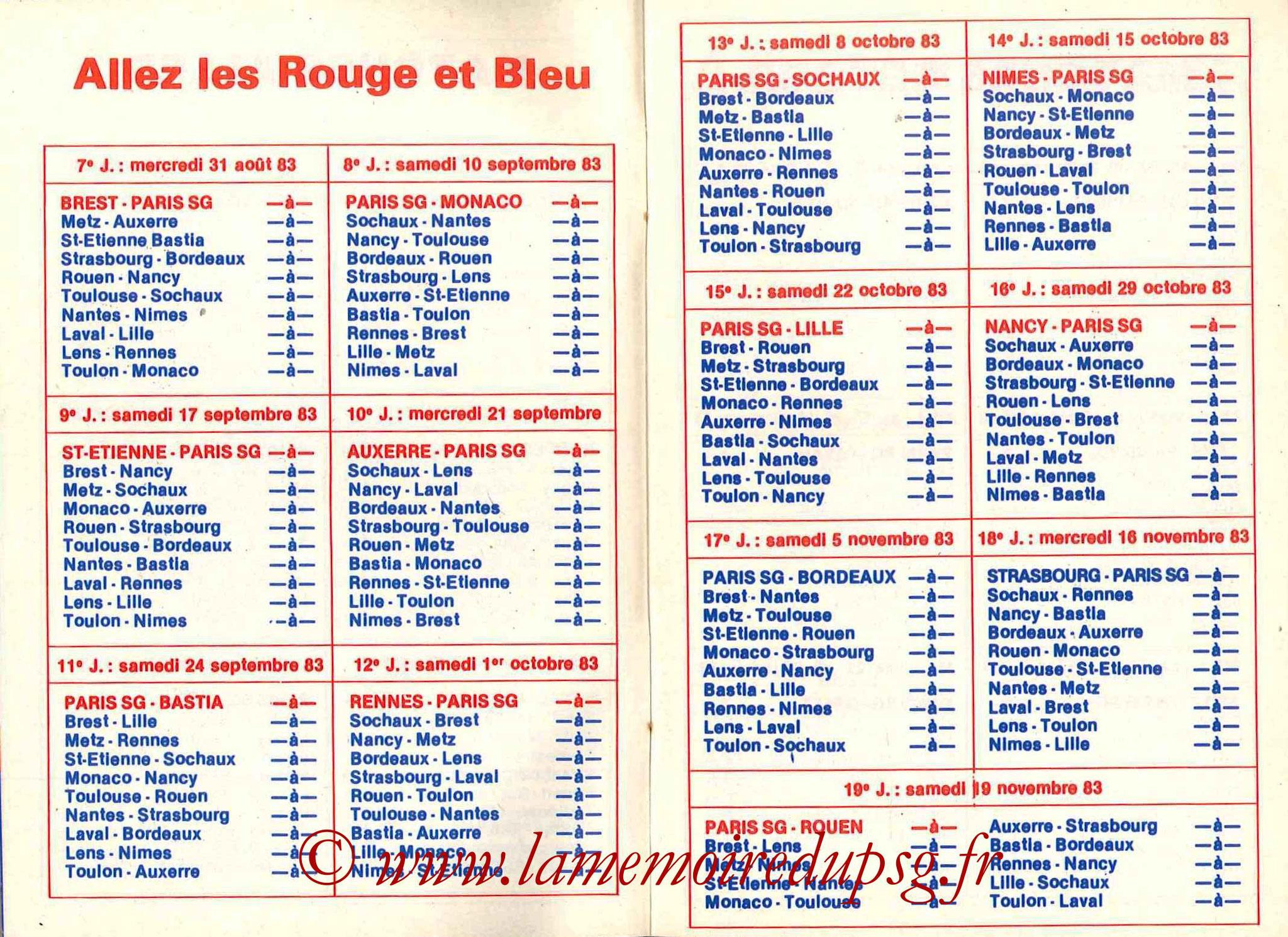 1983-84 - Guide de la Saison PSG - Pages 6 et 7