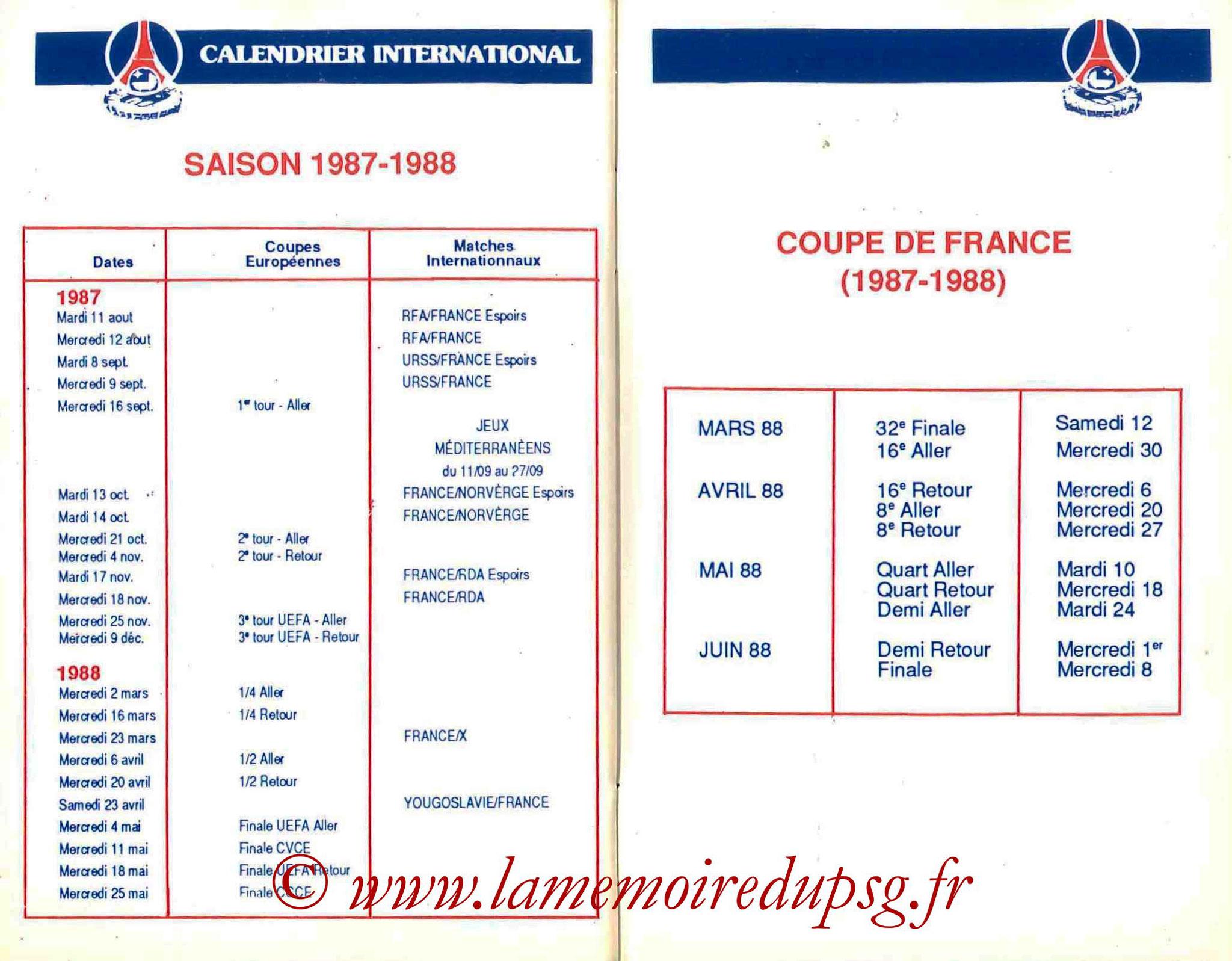 1987-88 - Guide de la Saison PSG - Pages 32 et 33
