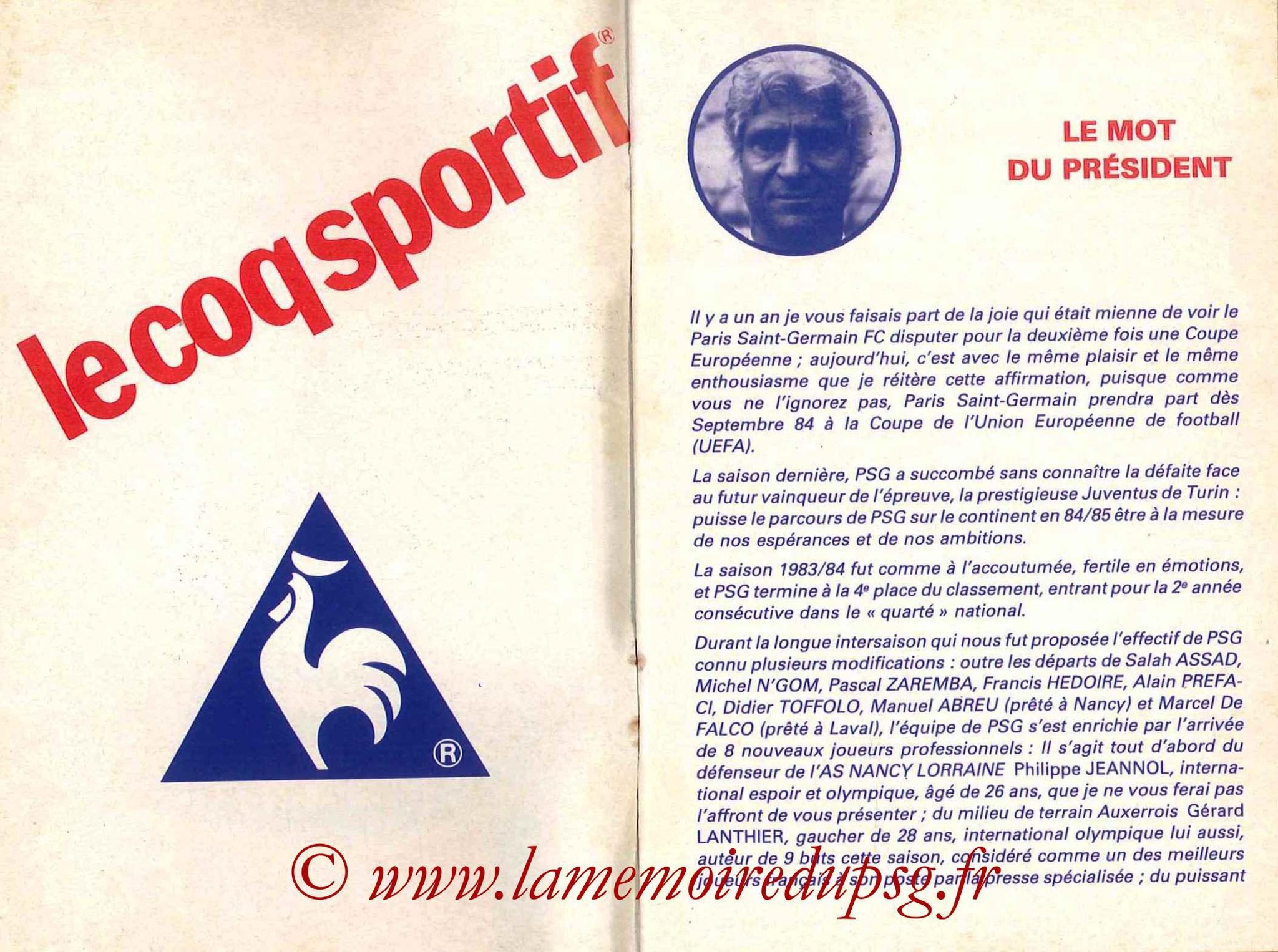 1984-85 - Guide de la Saison PSG - Pages 2 et 3
